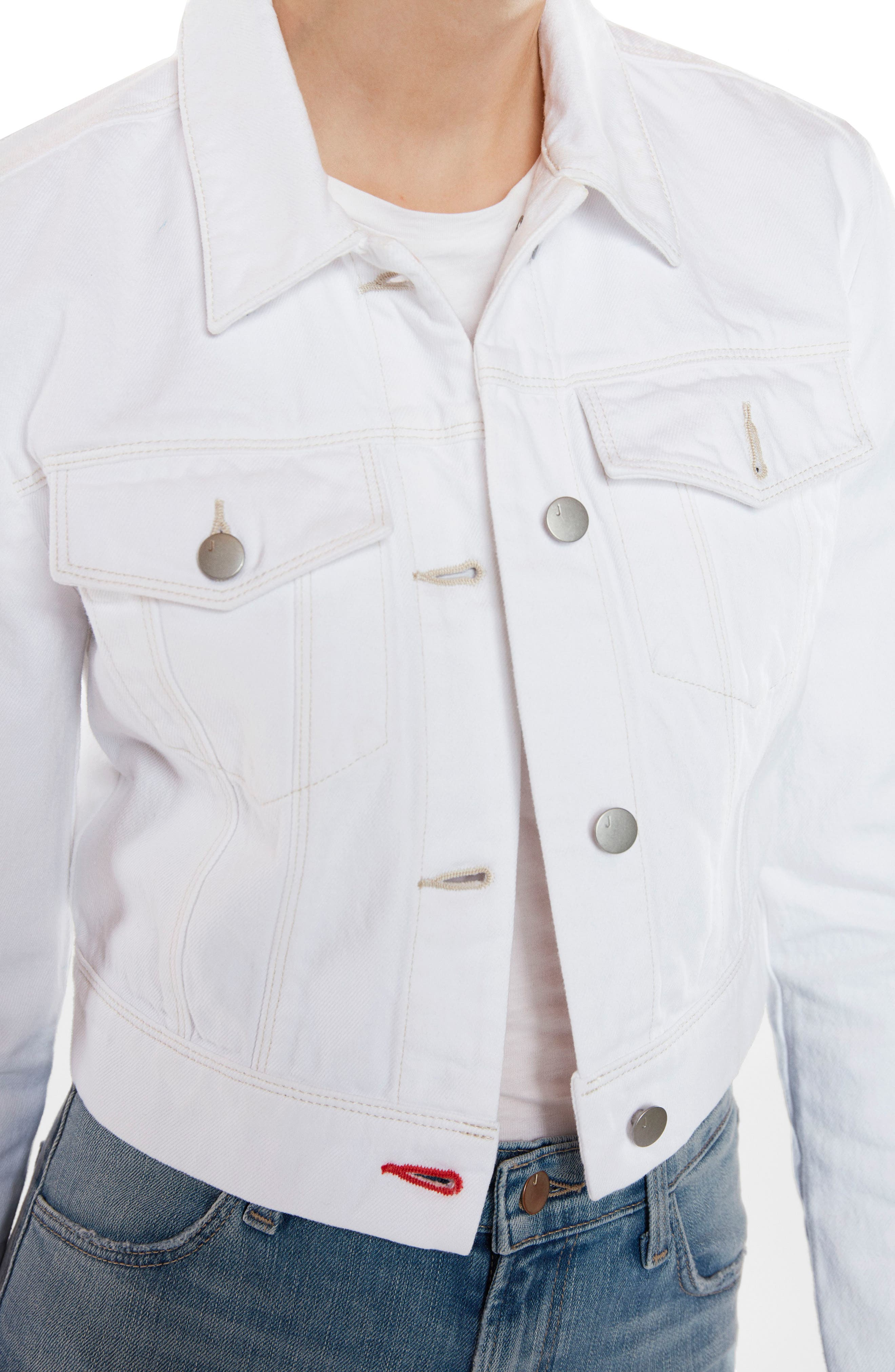 Faye Crop Denim Jacket,                             Alternate thumbnail 4, color,                             WHITE