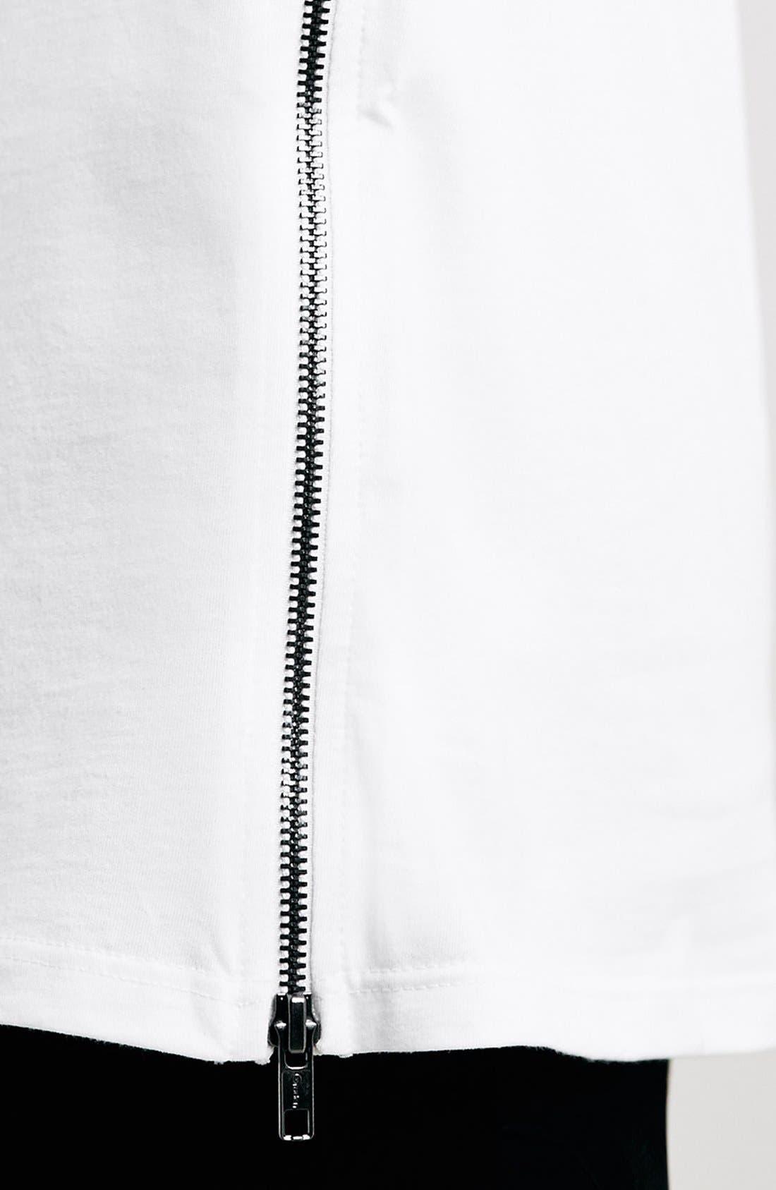 Slim Fit Longline T-Shirt with Side Zip Detail,                             Alternate thumbnail 4, color,                             100