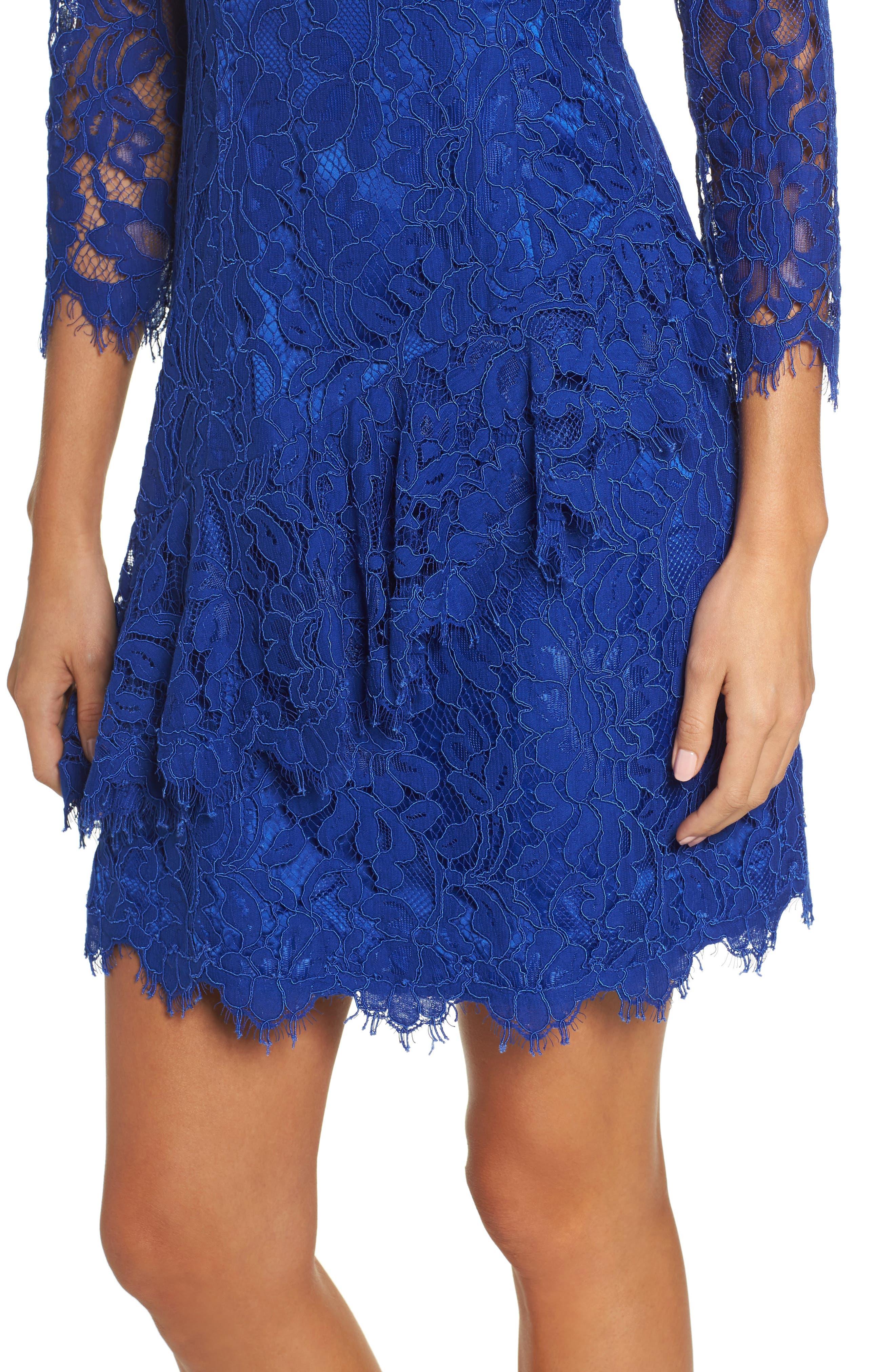 Lace Fit & Flare Dress,                             Alternate thumbnail 4, color,                             430