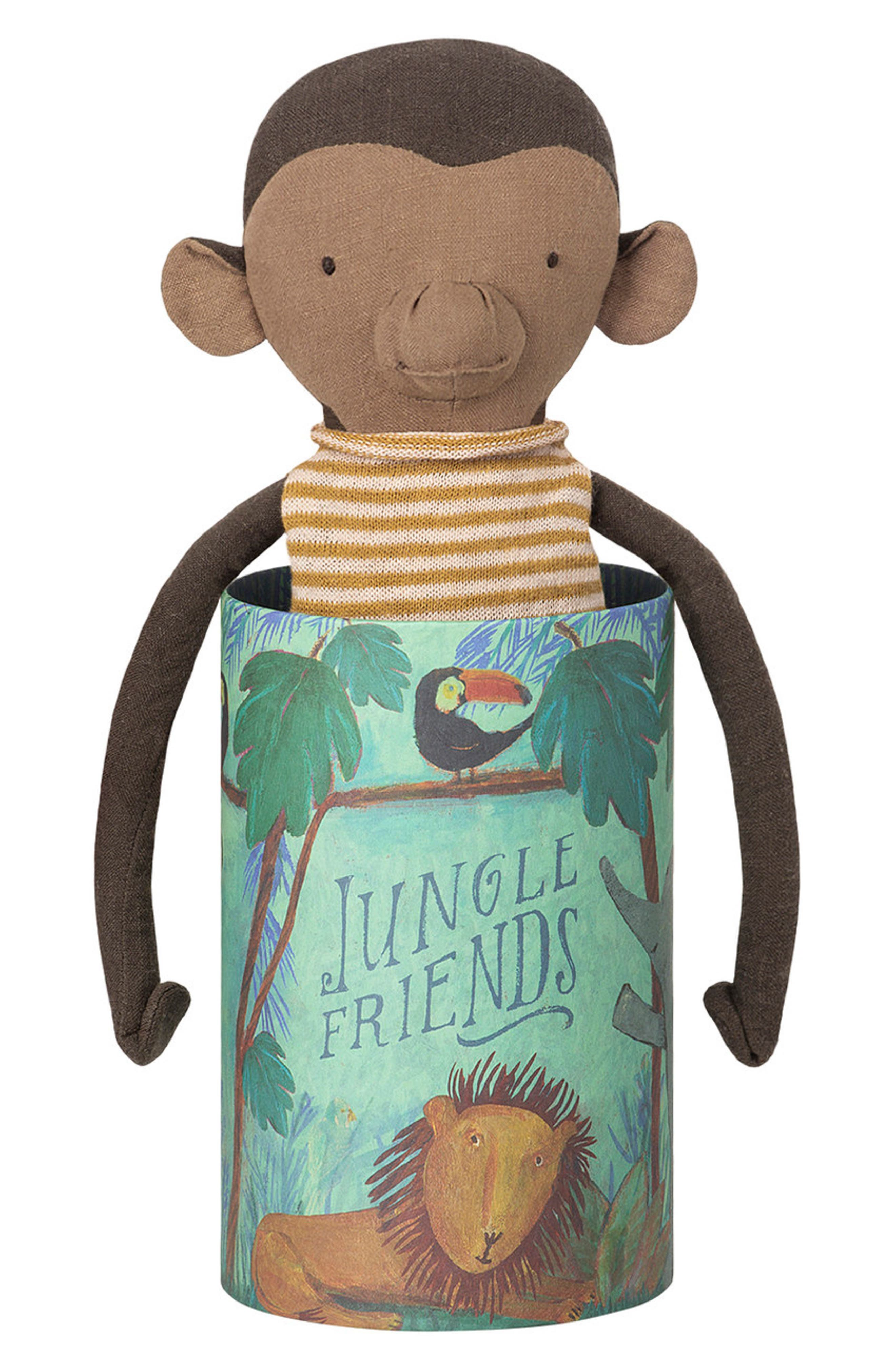 Jungle Friends Stuffed Monkey,                         Main,                         color, GREY