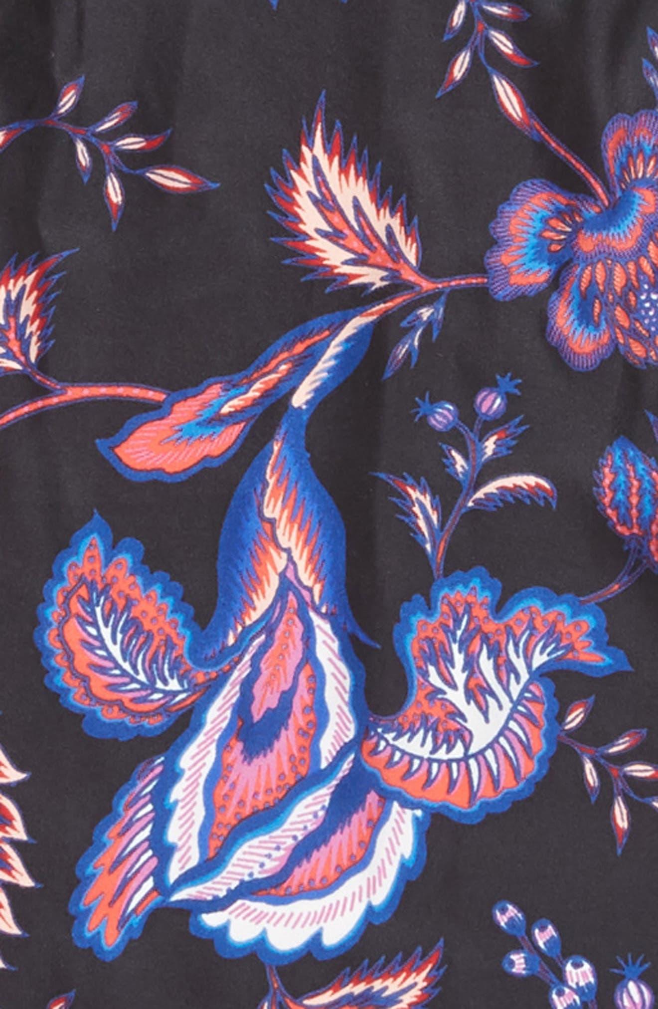 Hypnotic Floral Diamond Square Silk Scarf,                             Alternate thumbnail 4, color,                             BLACK