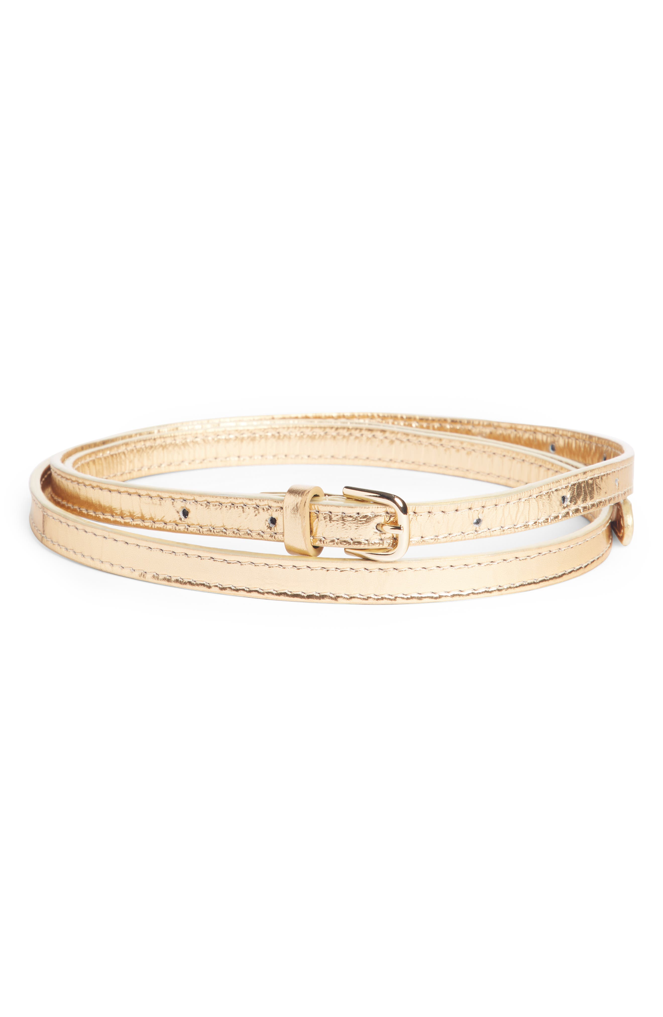 Skinny Metallic Leather Belt,                         Main,                         color, SILVER