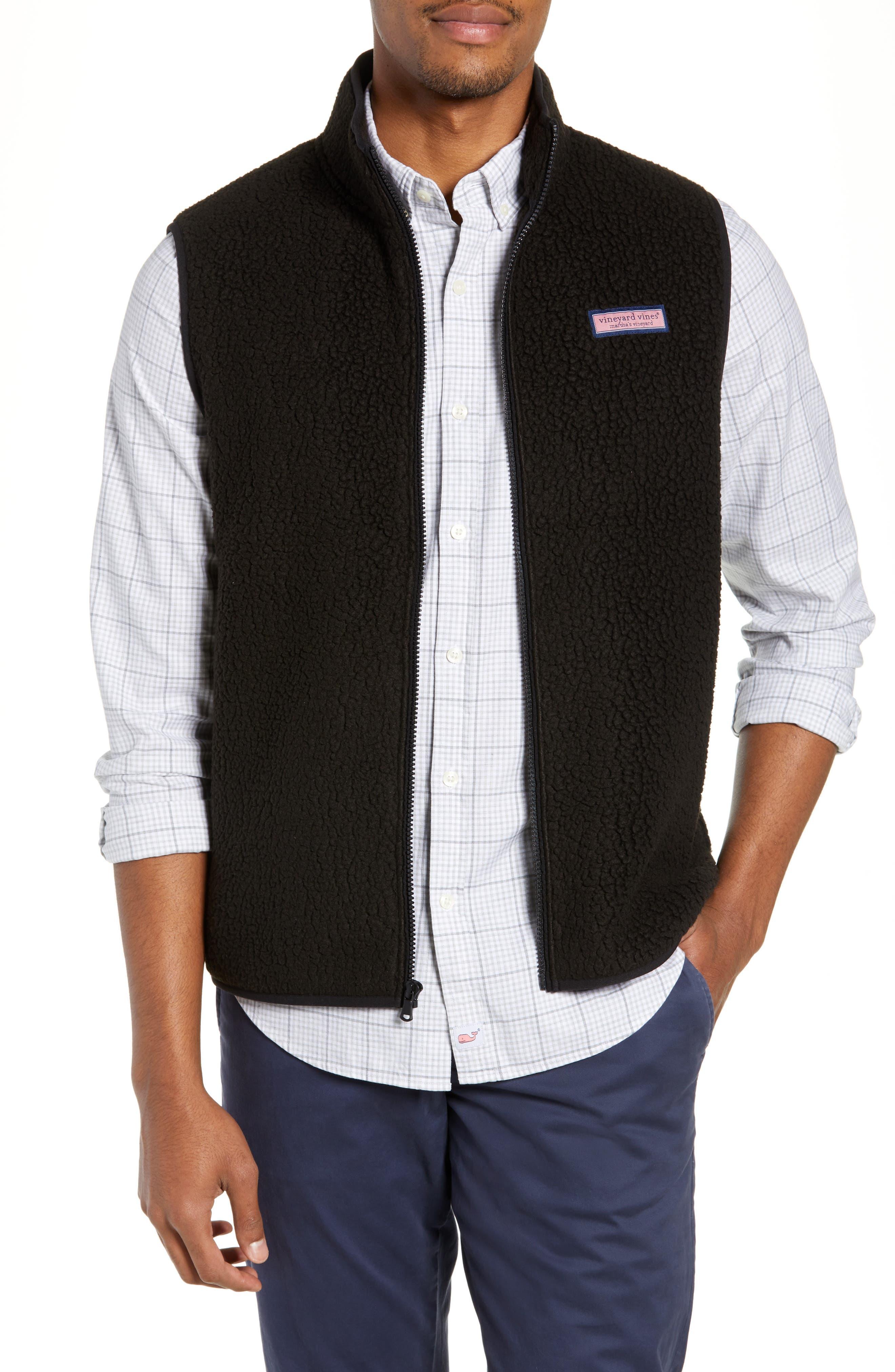 Harbor Regular Fit Fleece Vest,                         Main,                         color, JET BLACK