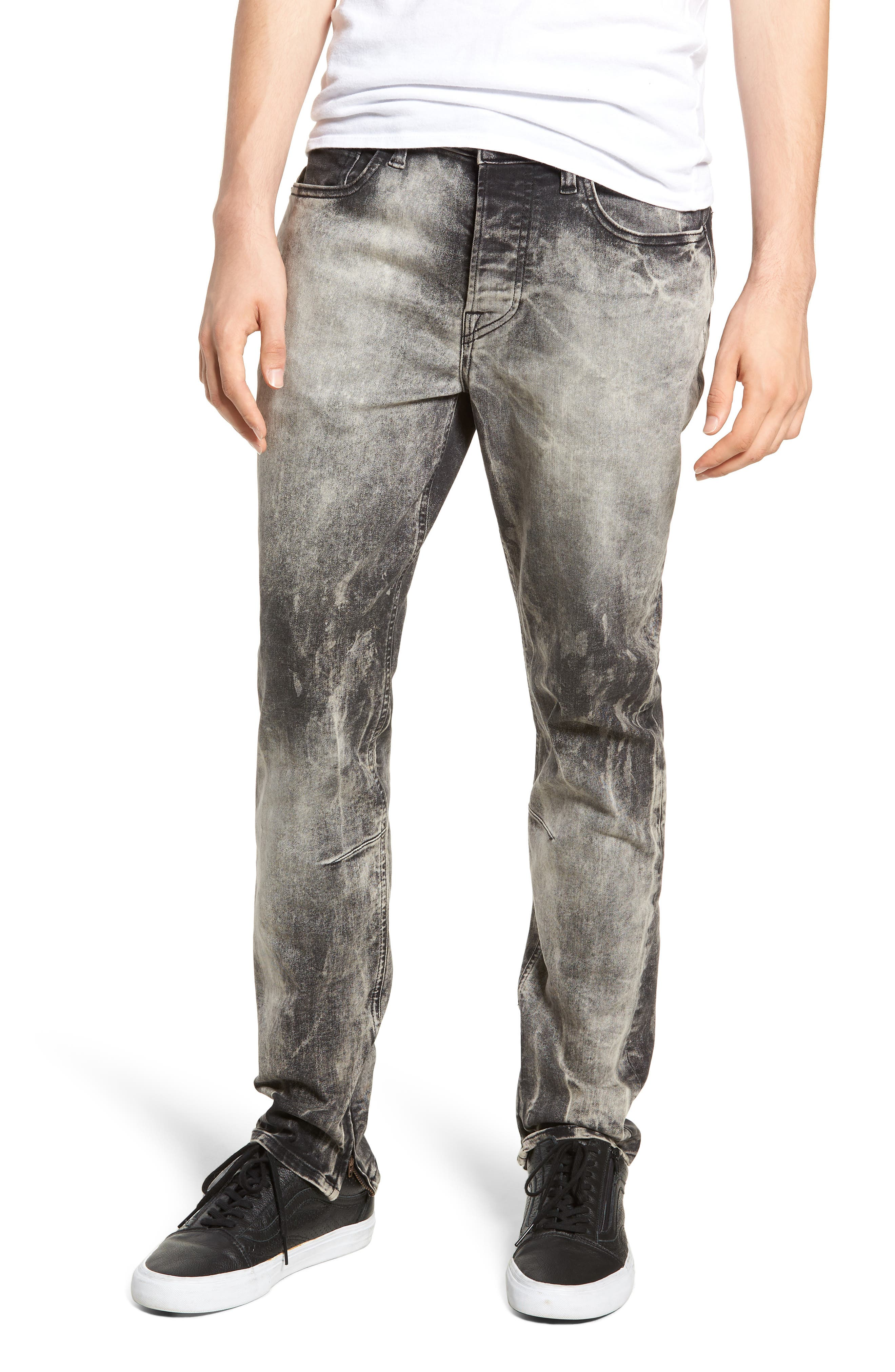 Men'S Vaughn Skinny Ankle-Zip Deconstructed Jeans in Stonehouse