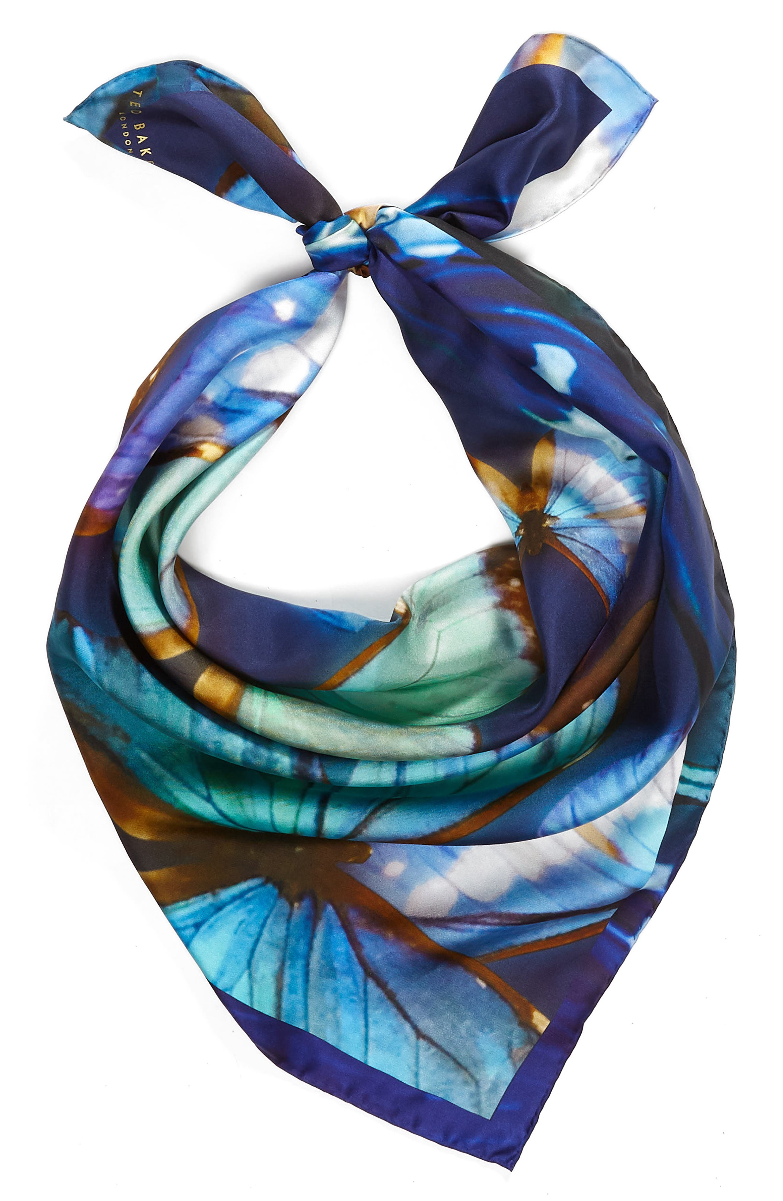 Butterfly Silk Square Scarf,                             Alternate thumbnail 2, color,                             410