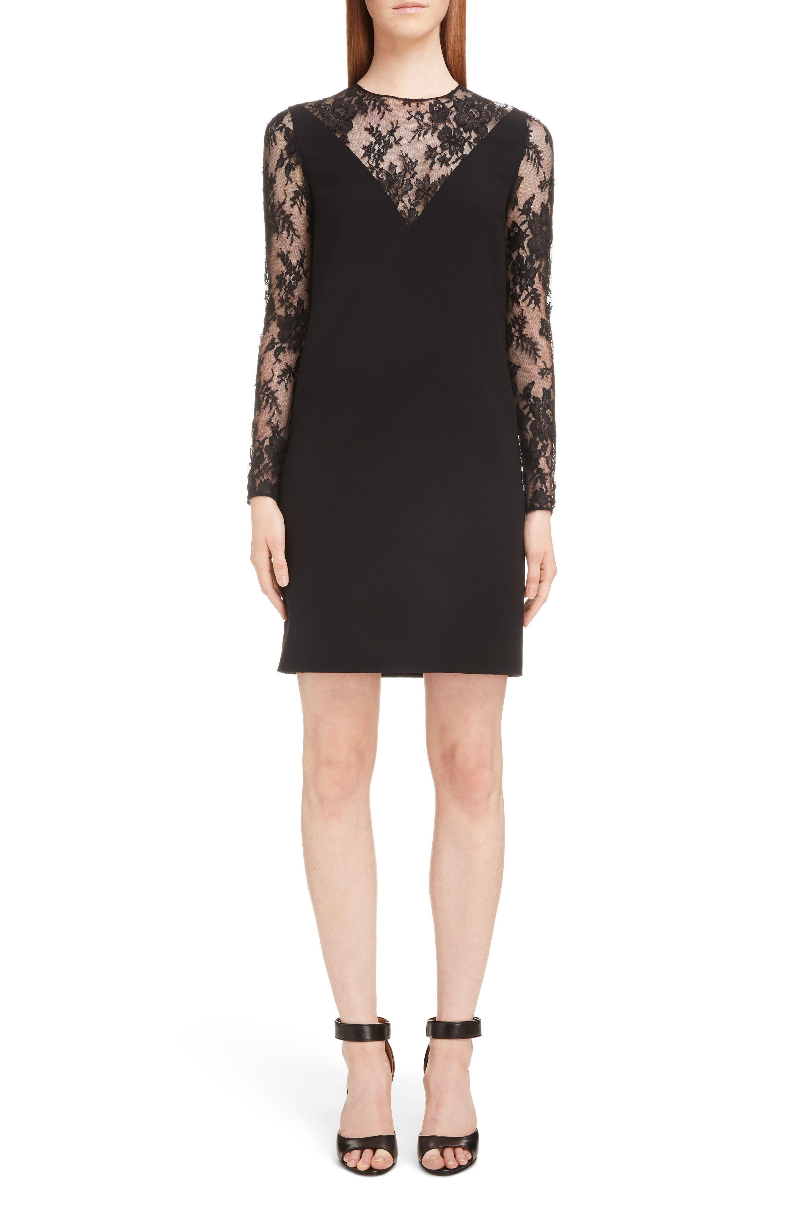 Lace Illusion Dress, Main, color, 001-BLACK