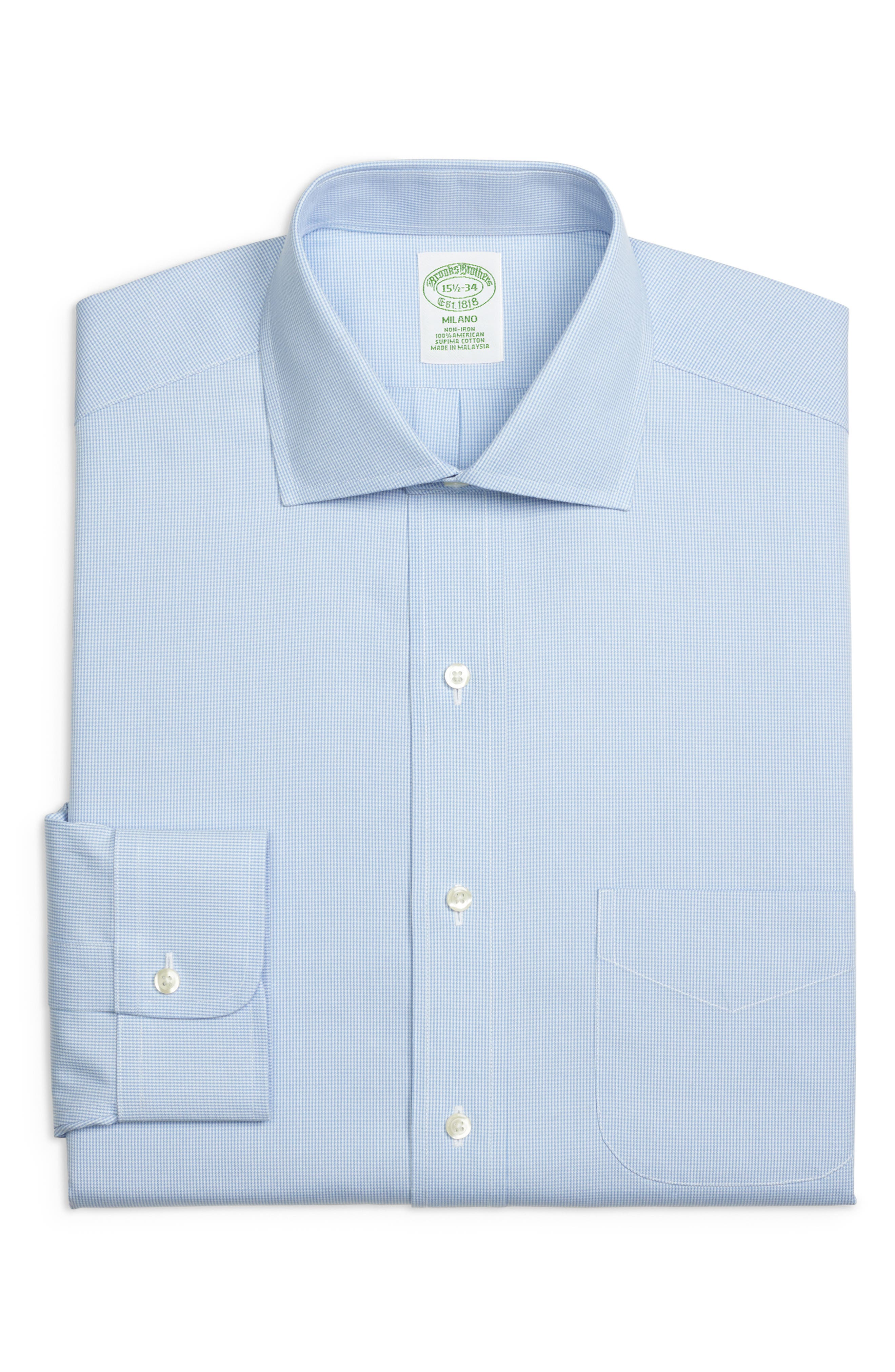 Trim Fit Houndstooth Dress Shirt,                         Main,                         color, LIGHT/ PASTEL BLUE