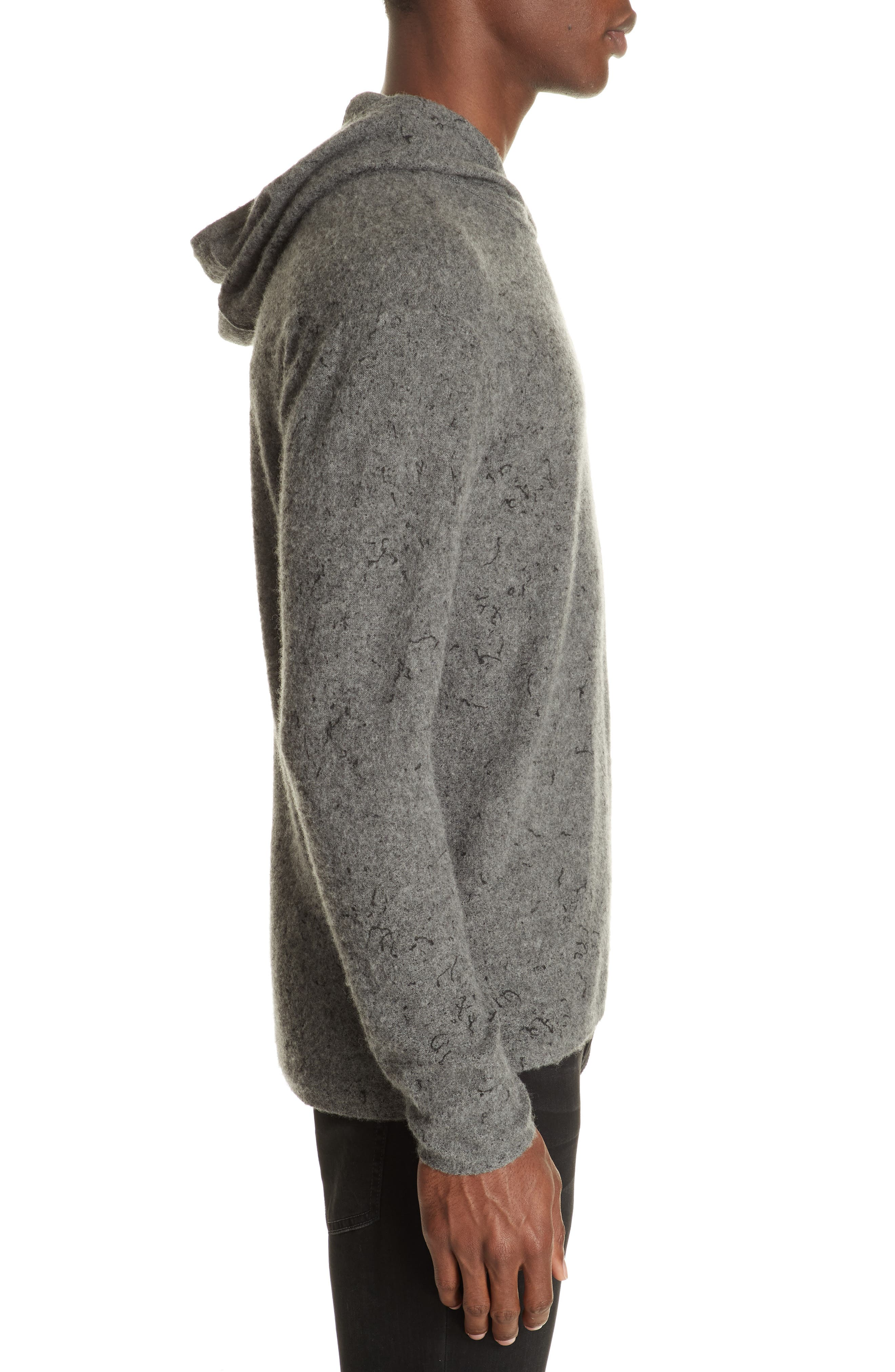 Wool Cashmere Hooded Sweater,                             Alternate thumbnail 3, color,                             SMOKE HEATHER