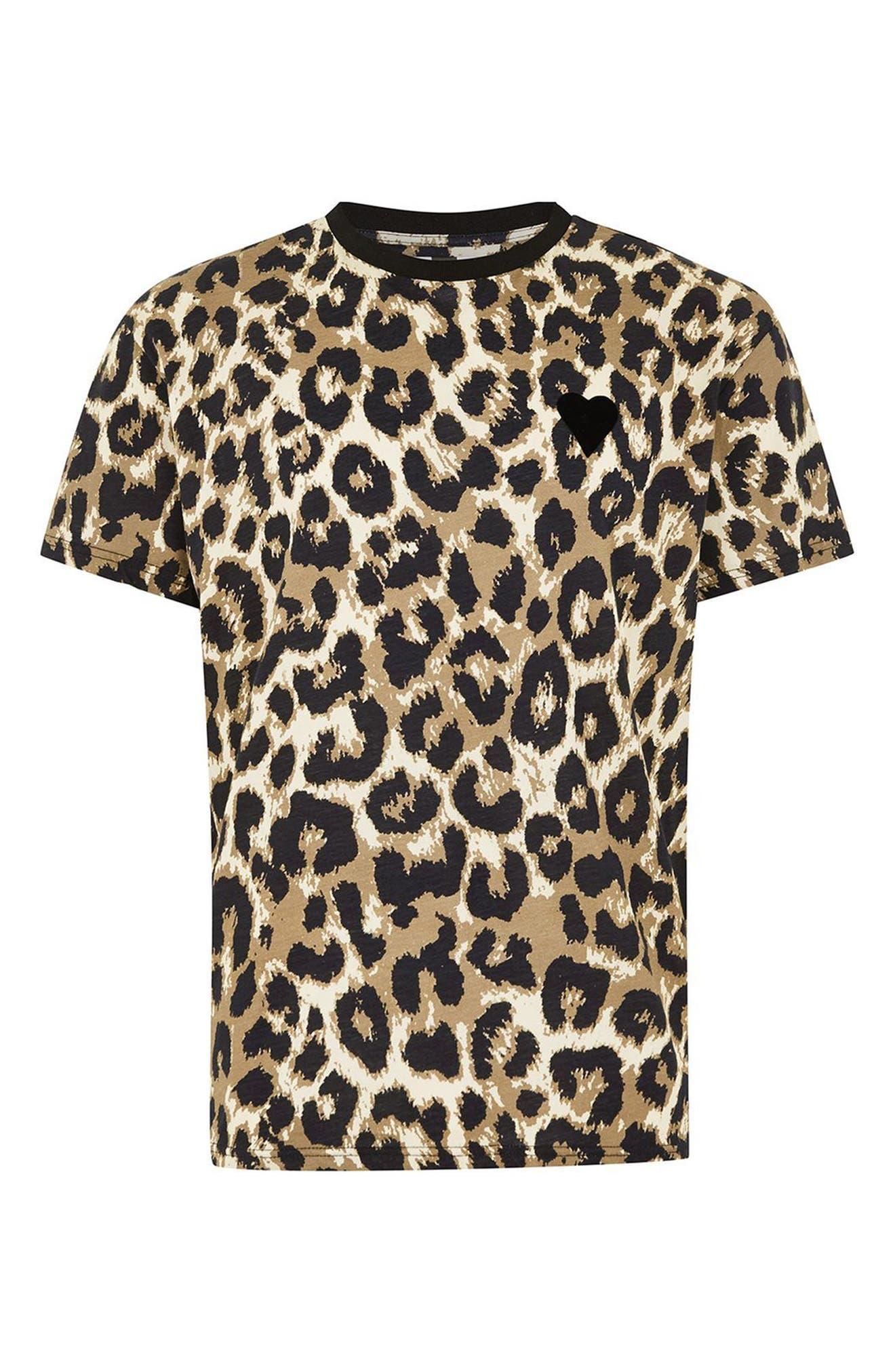 Classic Fit Leopard Print T-Shirt,                             Alternate thumbnail 4, color,                             210