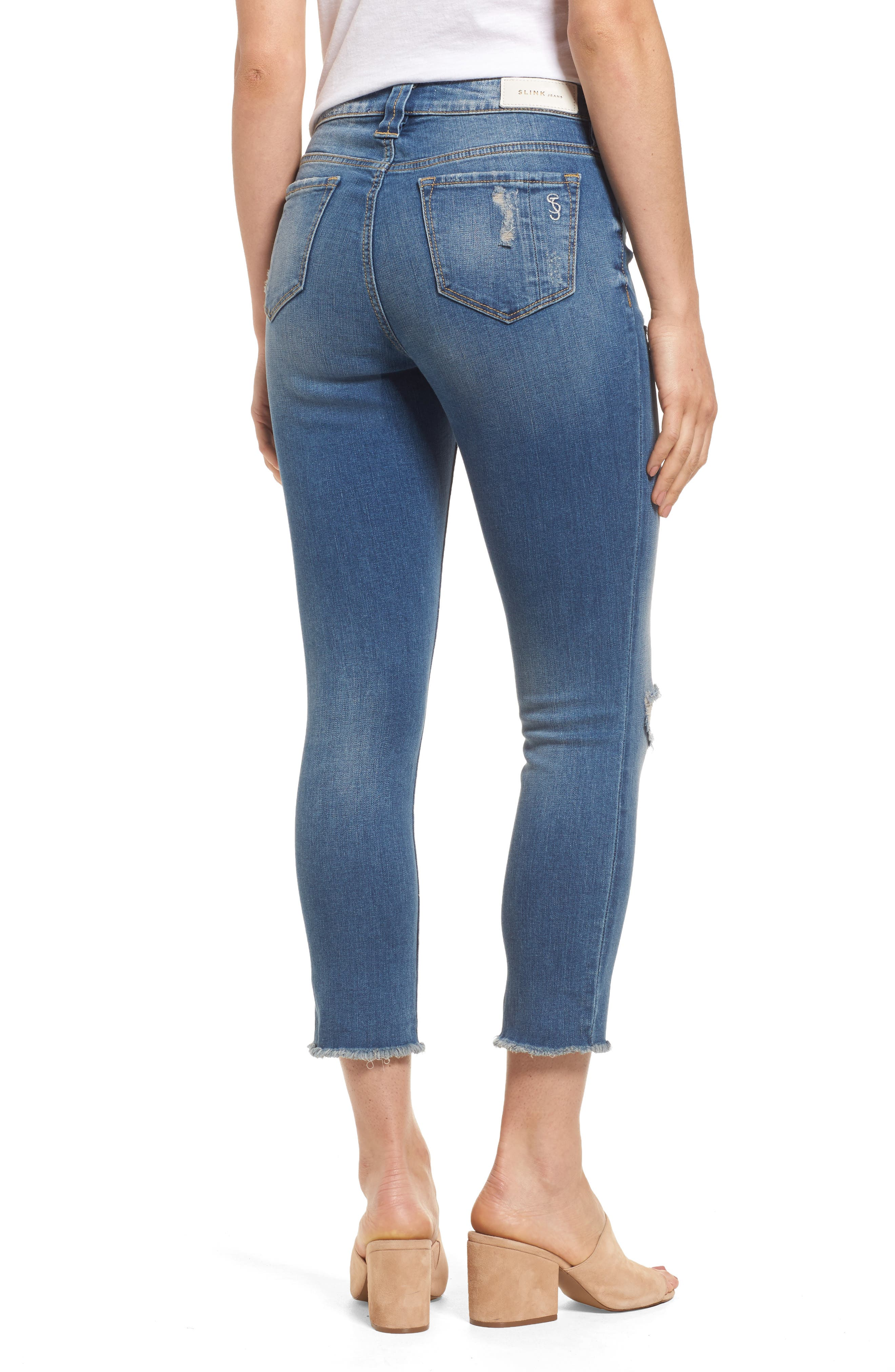 Frayed Hem Crop Jeans,                             Alternate thumbnail 2, color,                             CARALYN