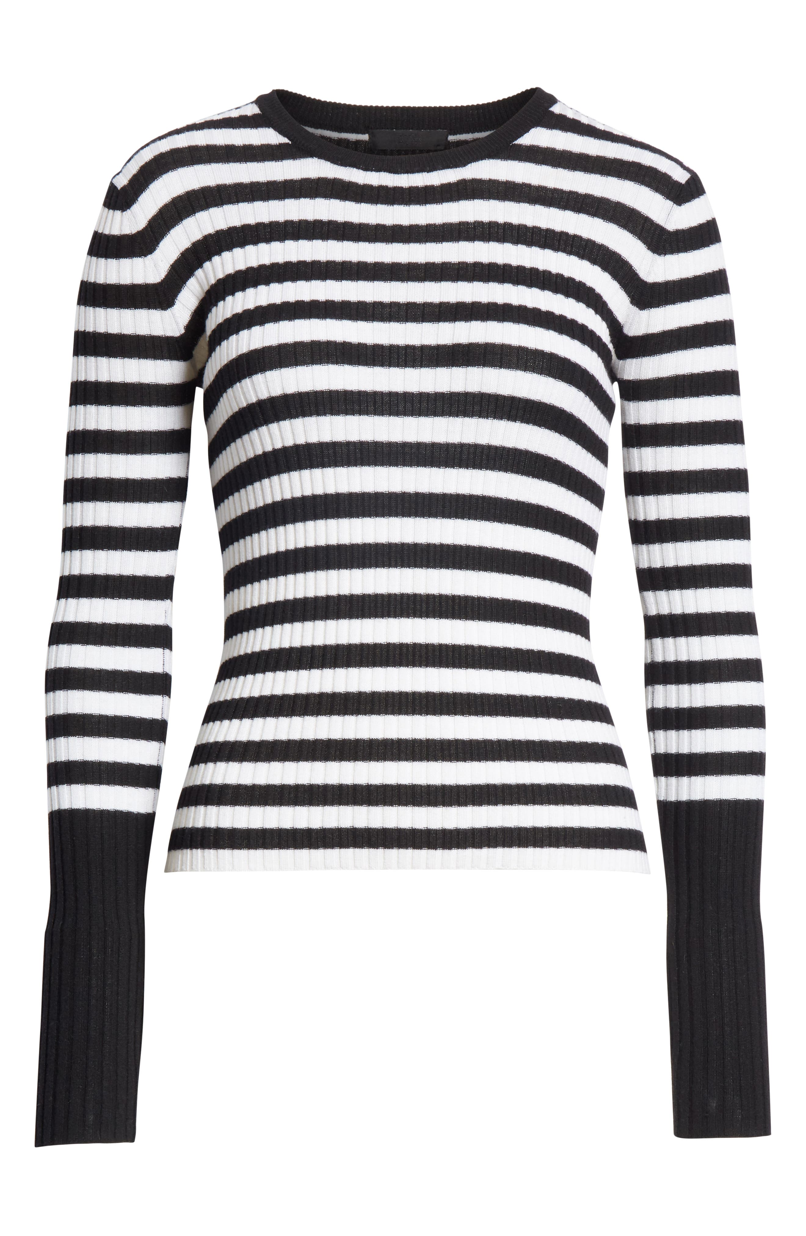 Stripe Rib Merino Wool Sweater,                             Alternate thumbnail 6, color,                             BLACK/ WHITE STRIPE