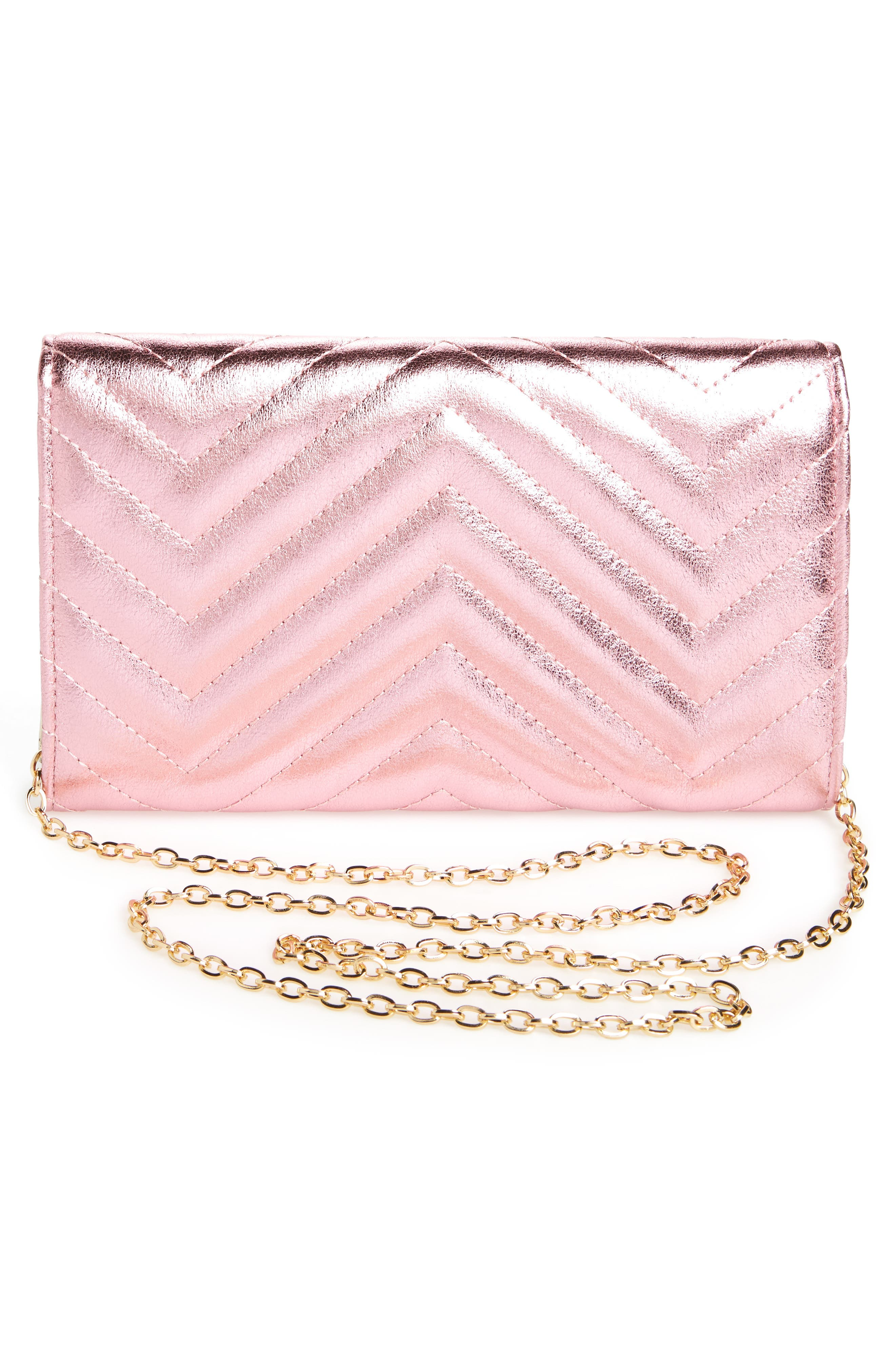 Quilted Faux Leather Wallet on a Chain,                             Alternate thumbnail 8, color,