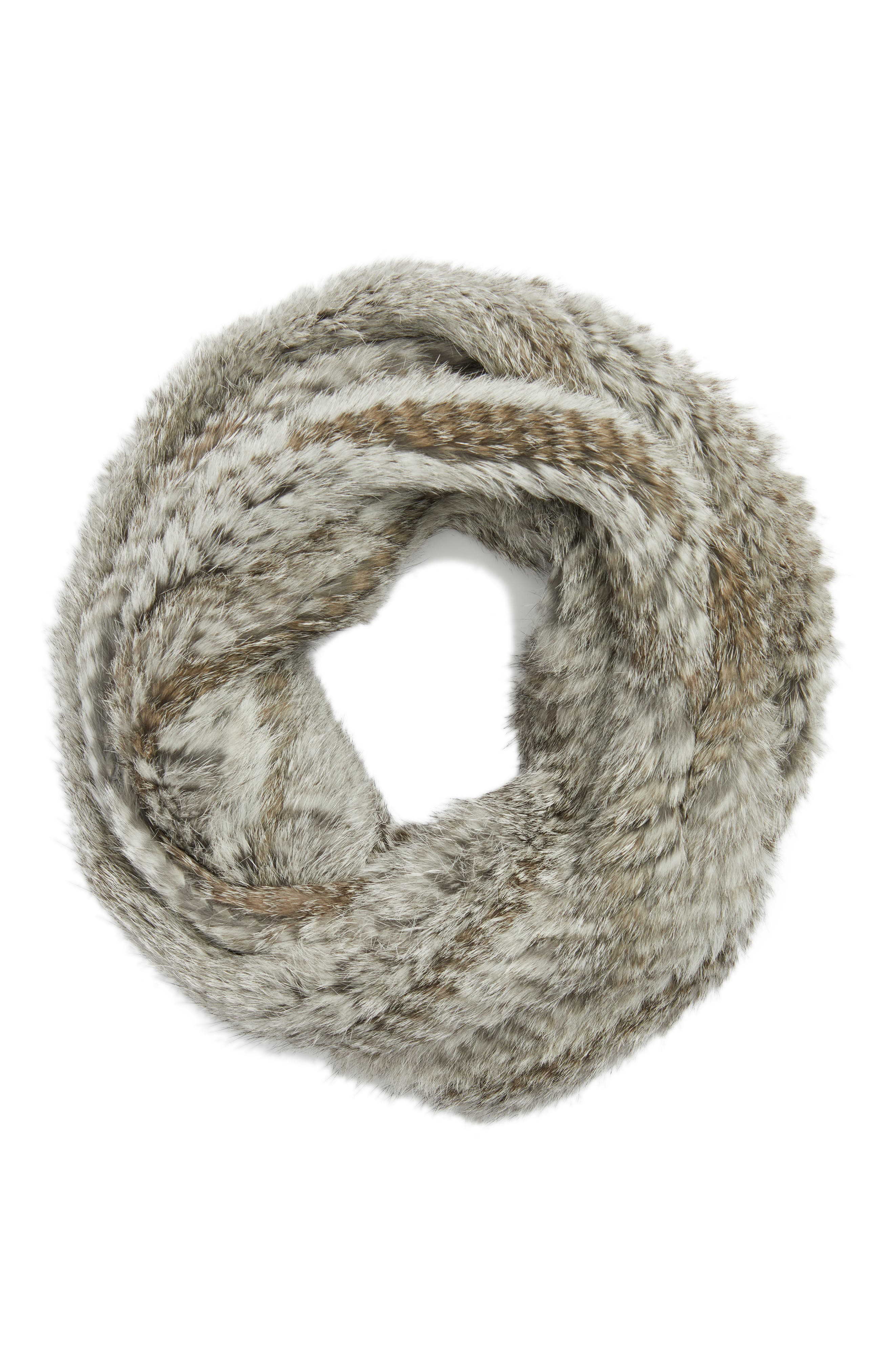 Solid Genuine Rabbit Infinity Scarf,                             Alternate thumbnail 6, color,