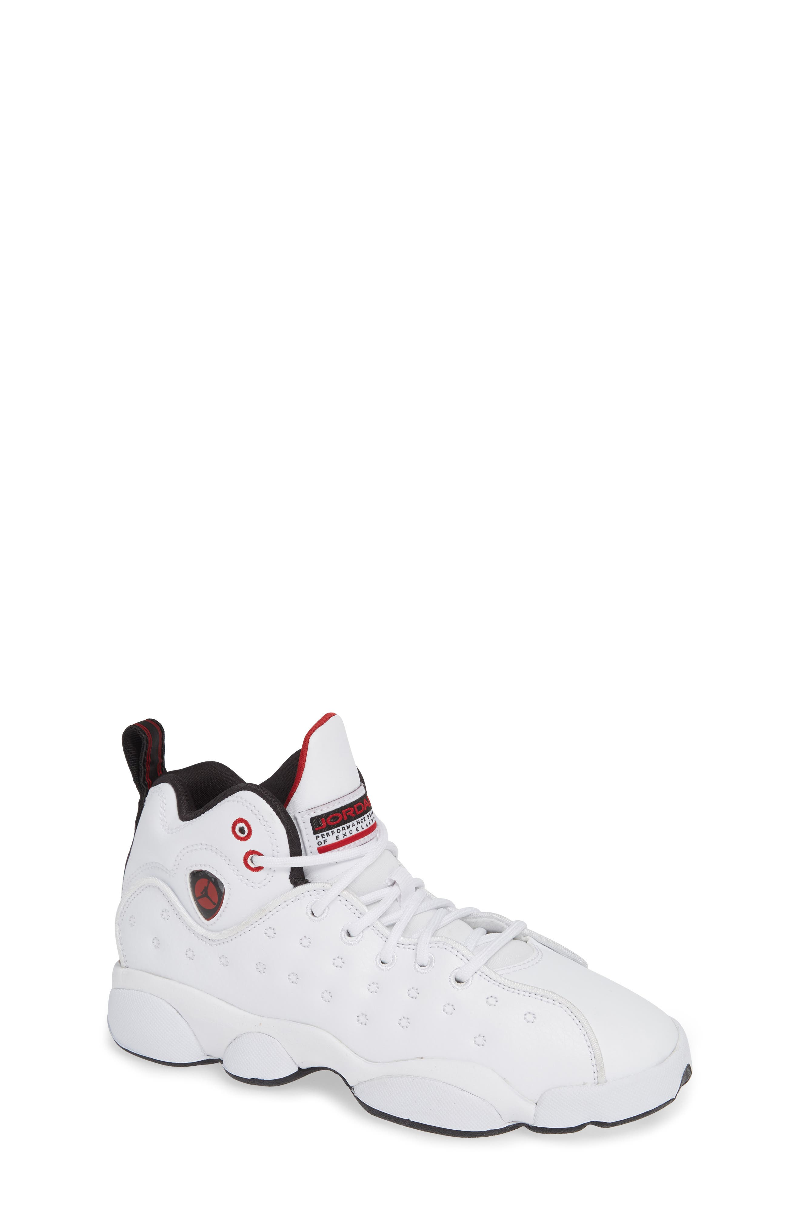 Jordan Jumpman Team II Sneaker,                         Main,                         color, WHITE/ BLACK/ GYM RED