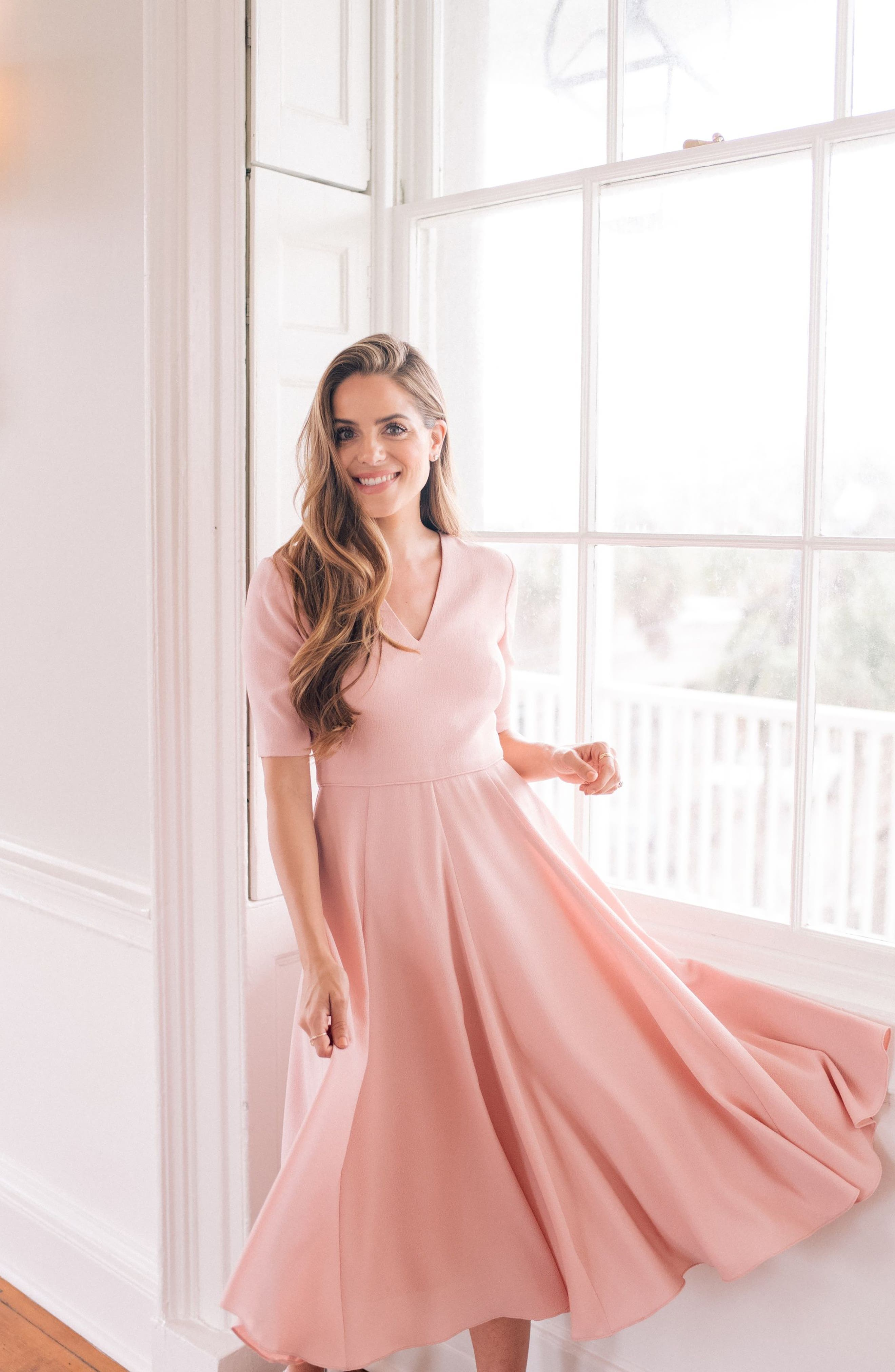 GAL MEETS GLAM COLLECTION,                             Edith City Crepe Fit & Flare Midi Dress,                             Alternate thumbnail 9, color,                             UPTOWN PINK