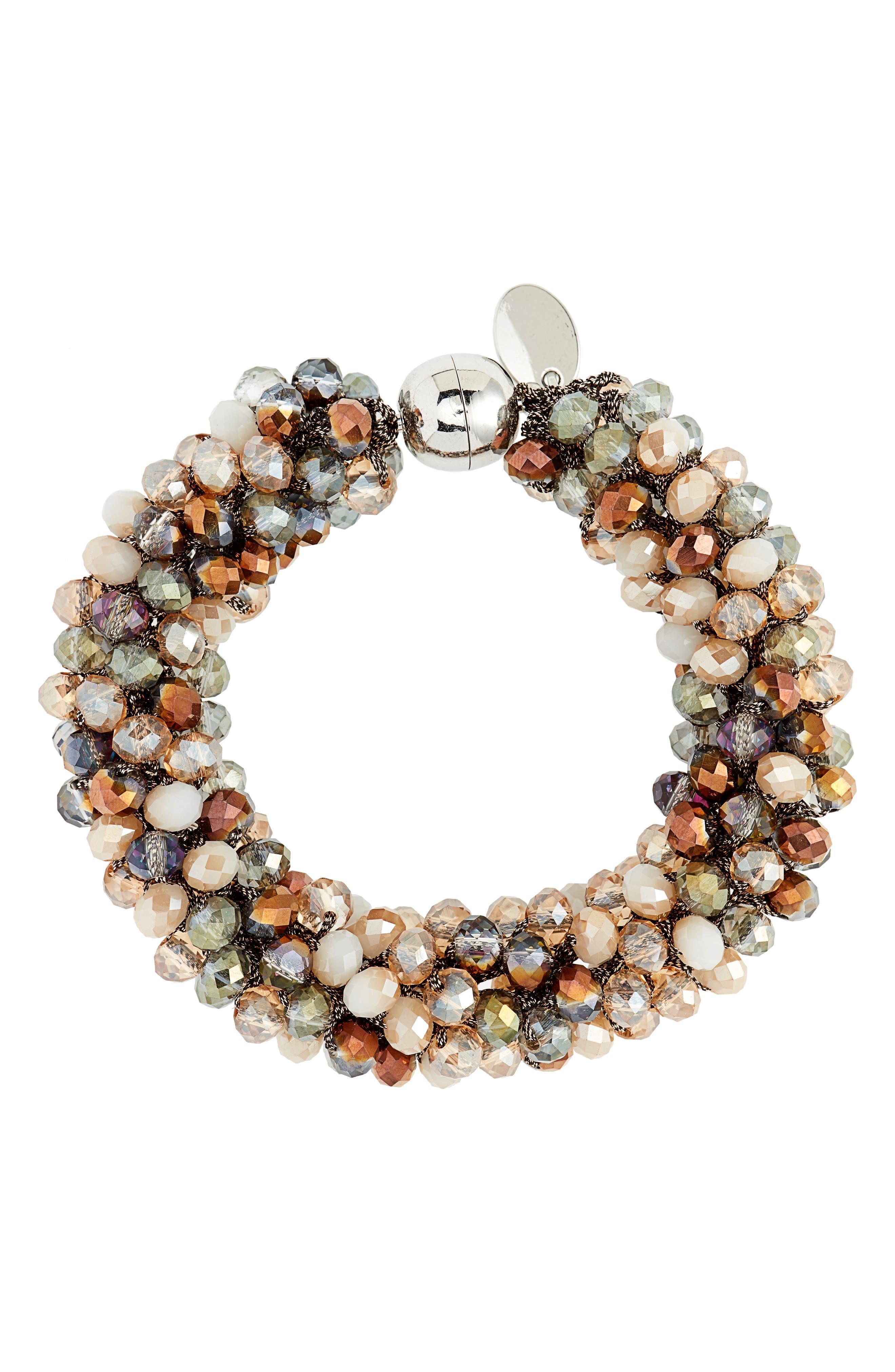 STELLA + RUBY Beaded Rope Bracelet in Silver/ Spice