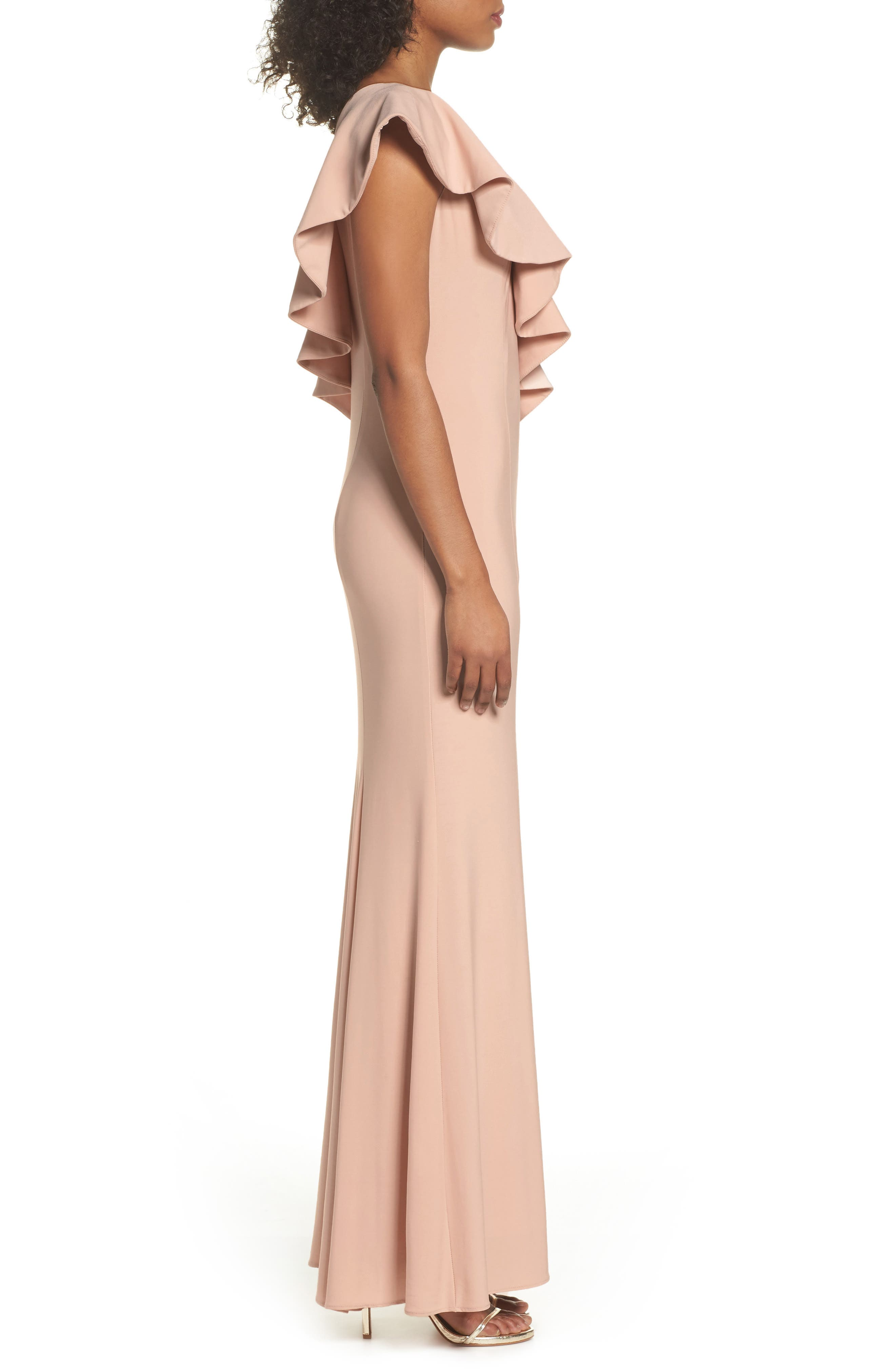 Ruffle Knit One-Shoulder Gown,                             Alternate thumbnail 3, color,