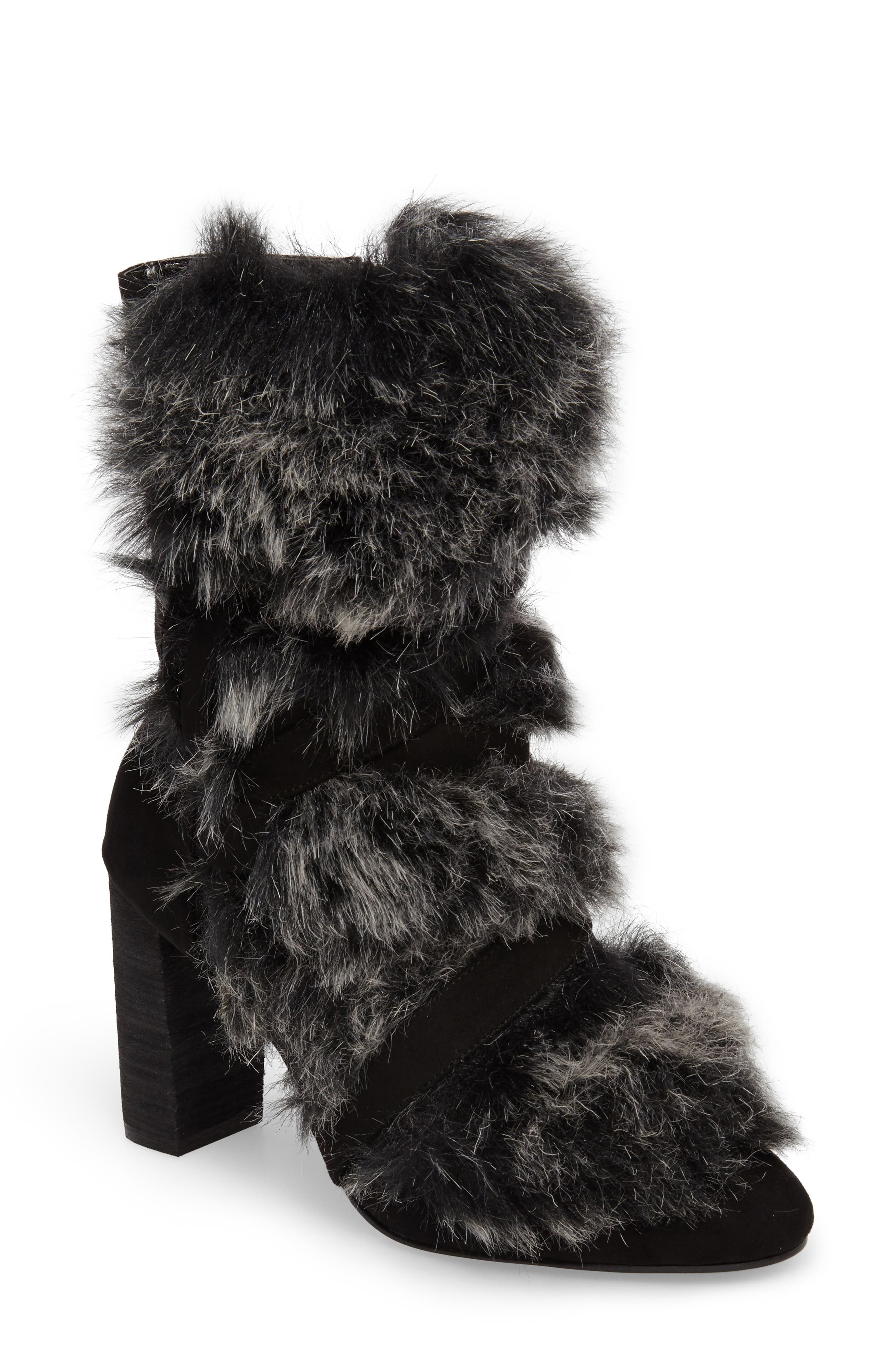 Alberta Faux Fur Boot,                             Main thumbnail 1, color,                             001