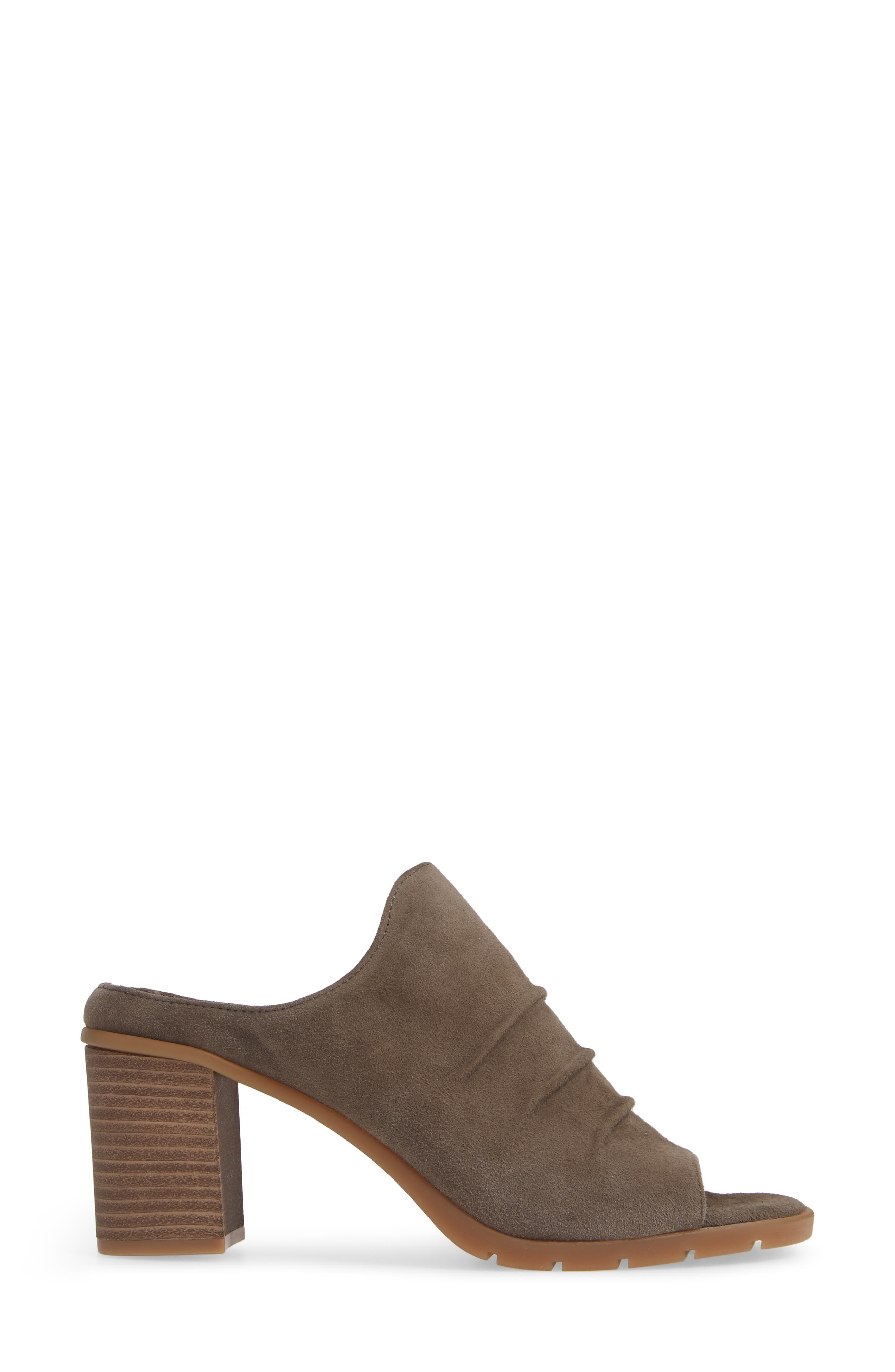 Aim to Pleat Mule,                             Alternate thumbnail 3, color,                             BROWN LEATHER