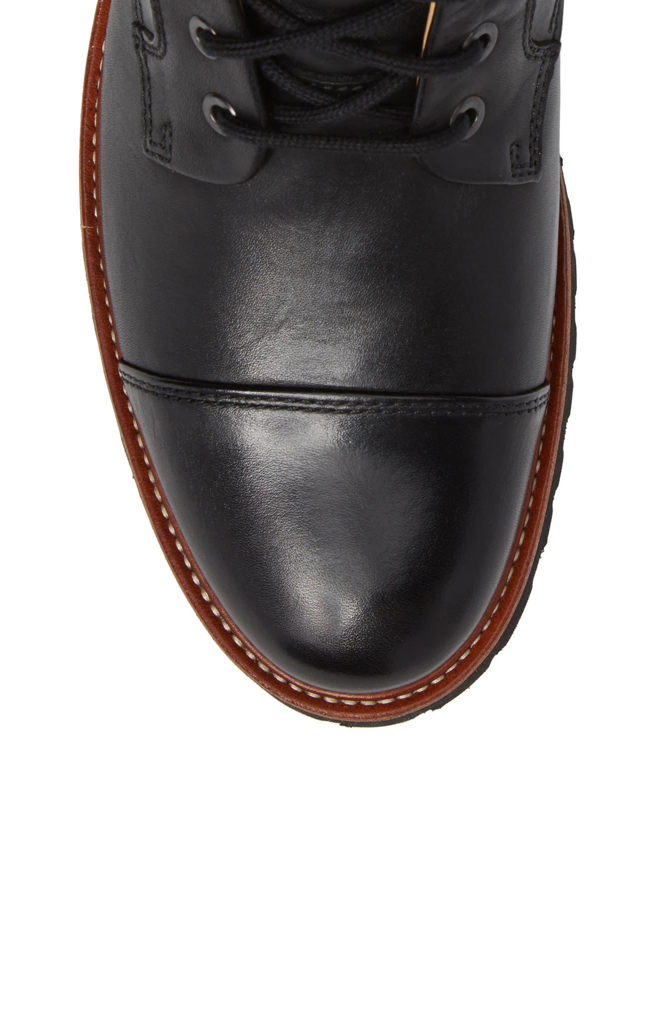Uptown Maverick Cap Toe Boot,                             Alternate thumbnail 5, color,                             BLACK LEATHER