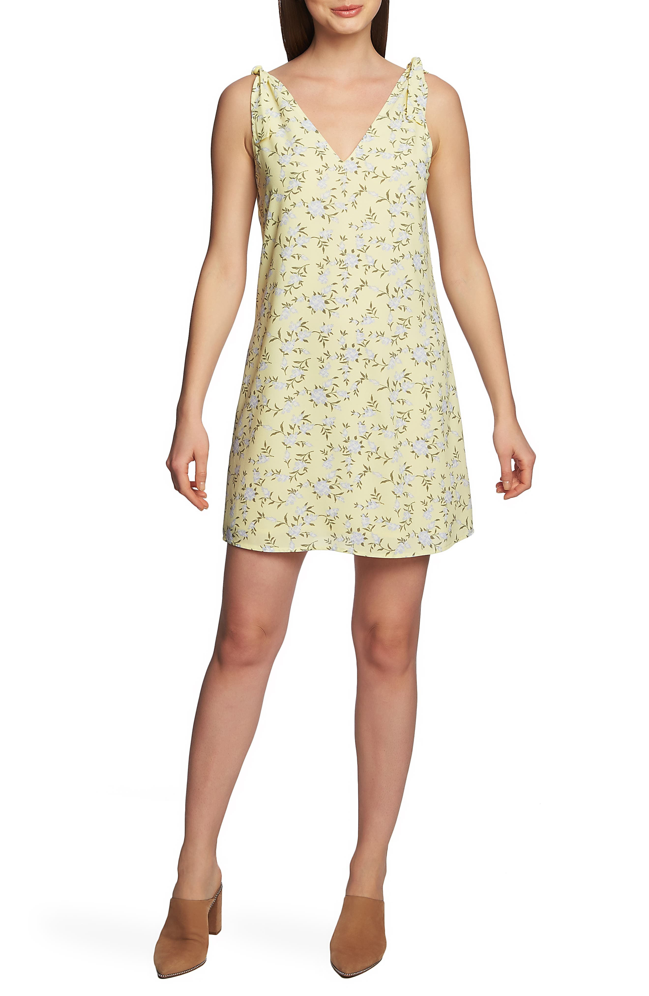 1.state Tie Shoulder Blossom Shift Dress, Yellow