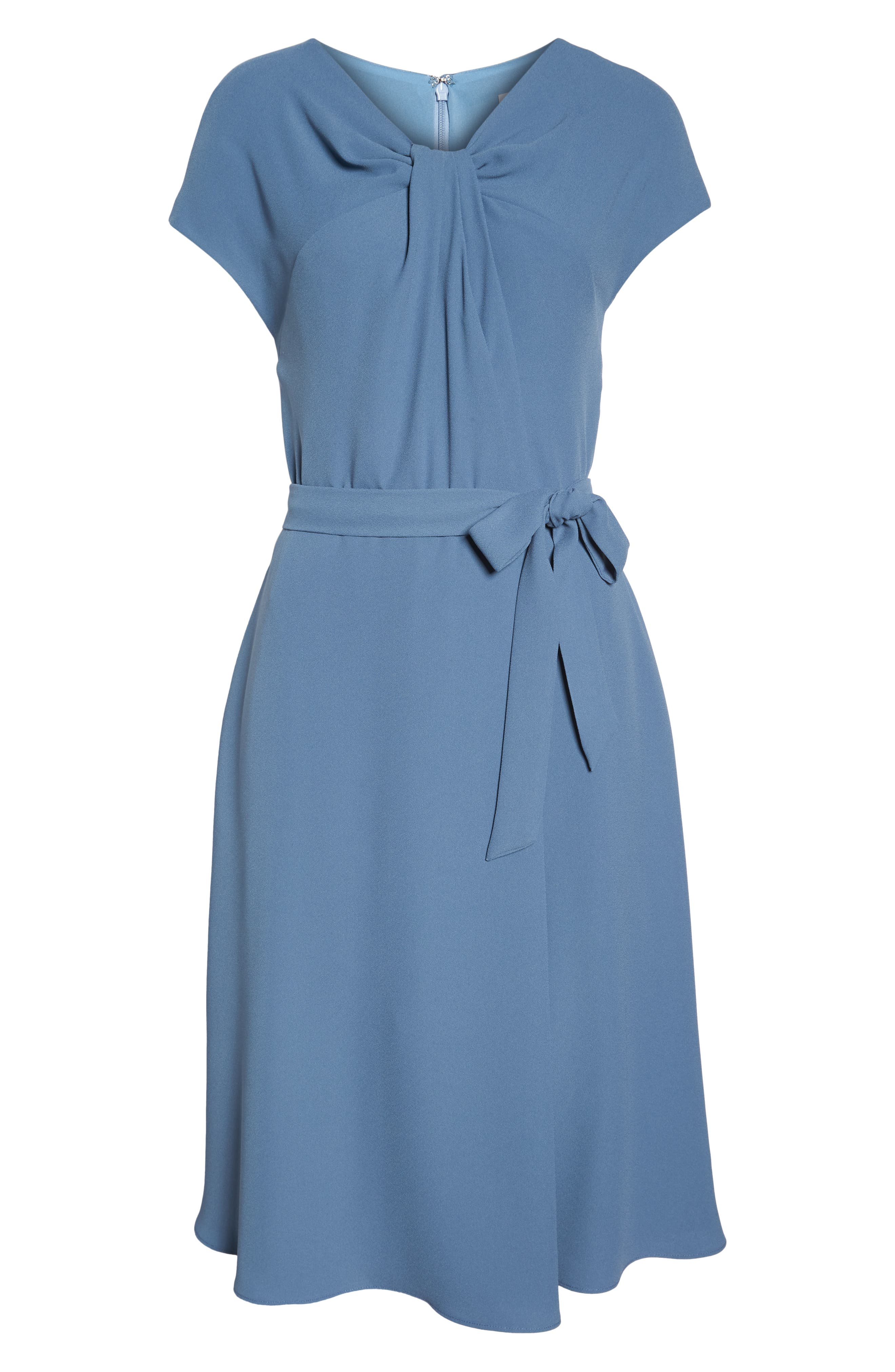 Vivian Twist Neck Fit & Flare Dress,                             Alternate thumbnail 7, color,                             DUSTY BLUE