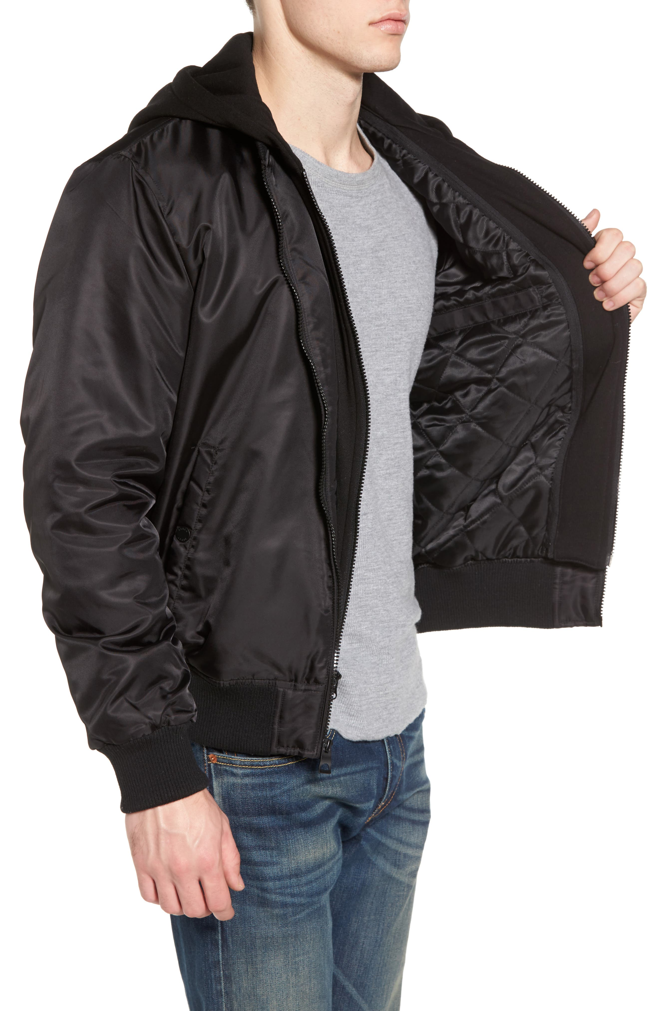 Water Resistant Hooded Satin Flight Jacket,                             Alternate thumbnail 5, color,