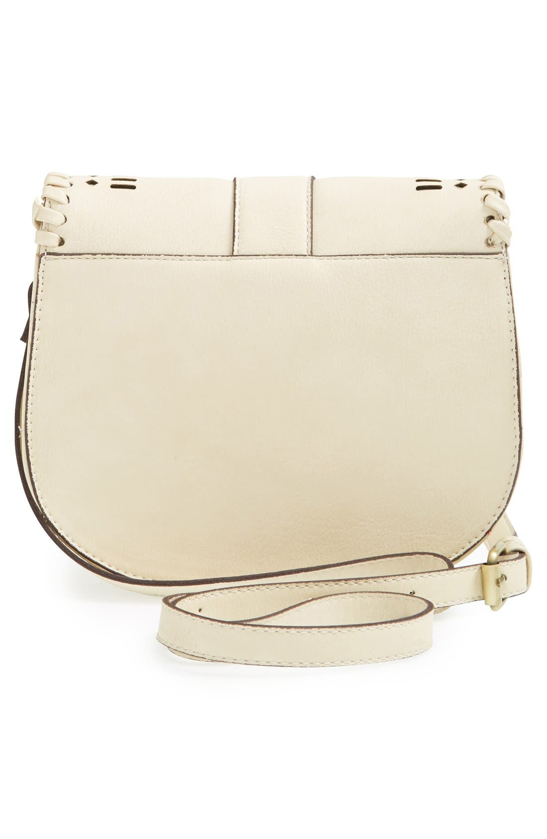 'Kianna' Perforated Faux Leather Crossbody Bag,                             Alternate thumbnail 5, color,                             IVORY