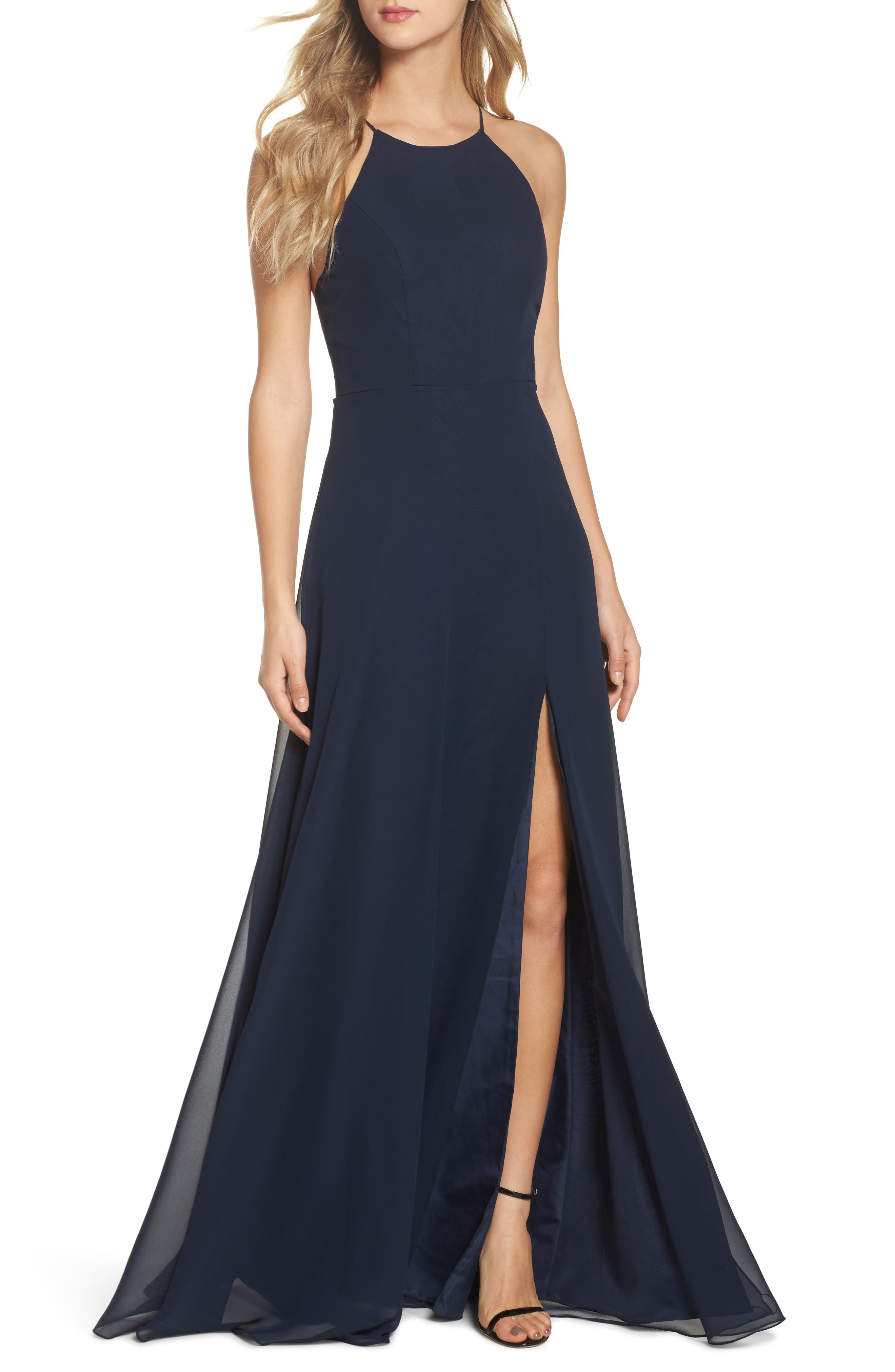 Kayla A-Line Halter Gown in Navy