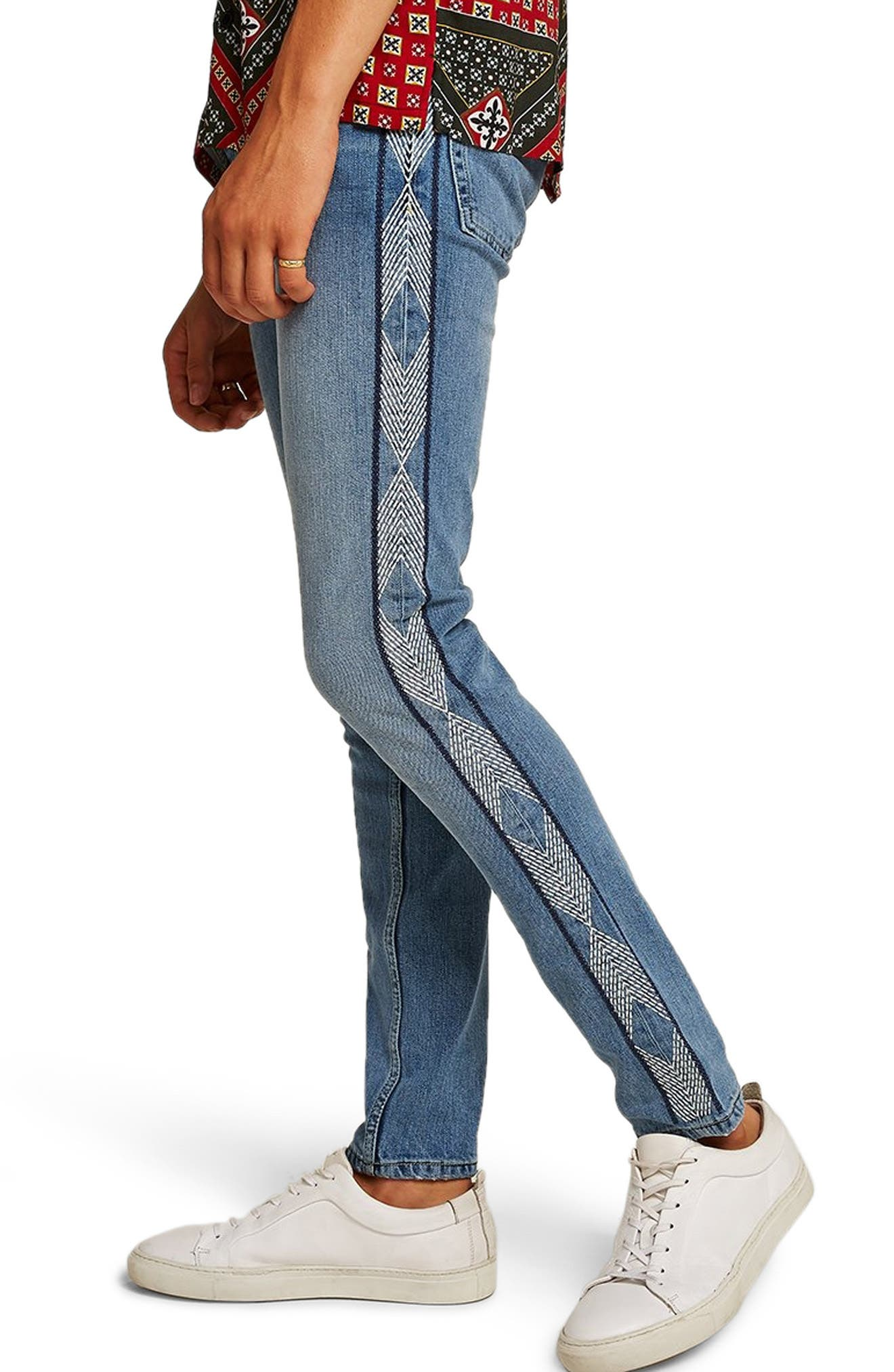 Side Stitched Stretch Skinny Jeans,                             Alternate thumbnail 3, color,                             400