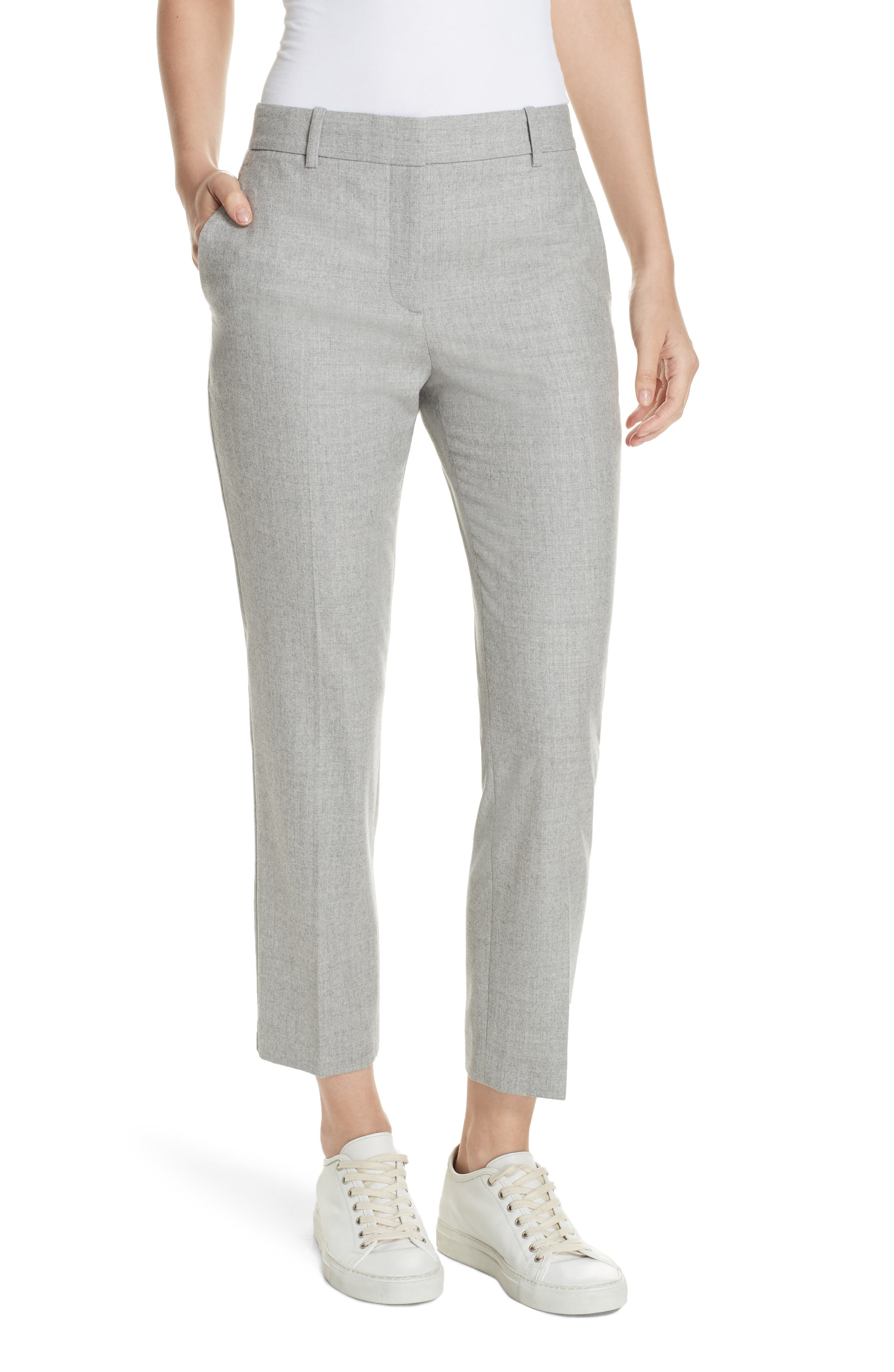 Treeca Flannel Ankle Pants,                             Main thumbnail 1, color,                             PALE GREY