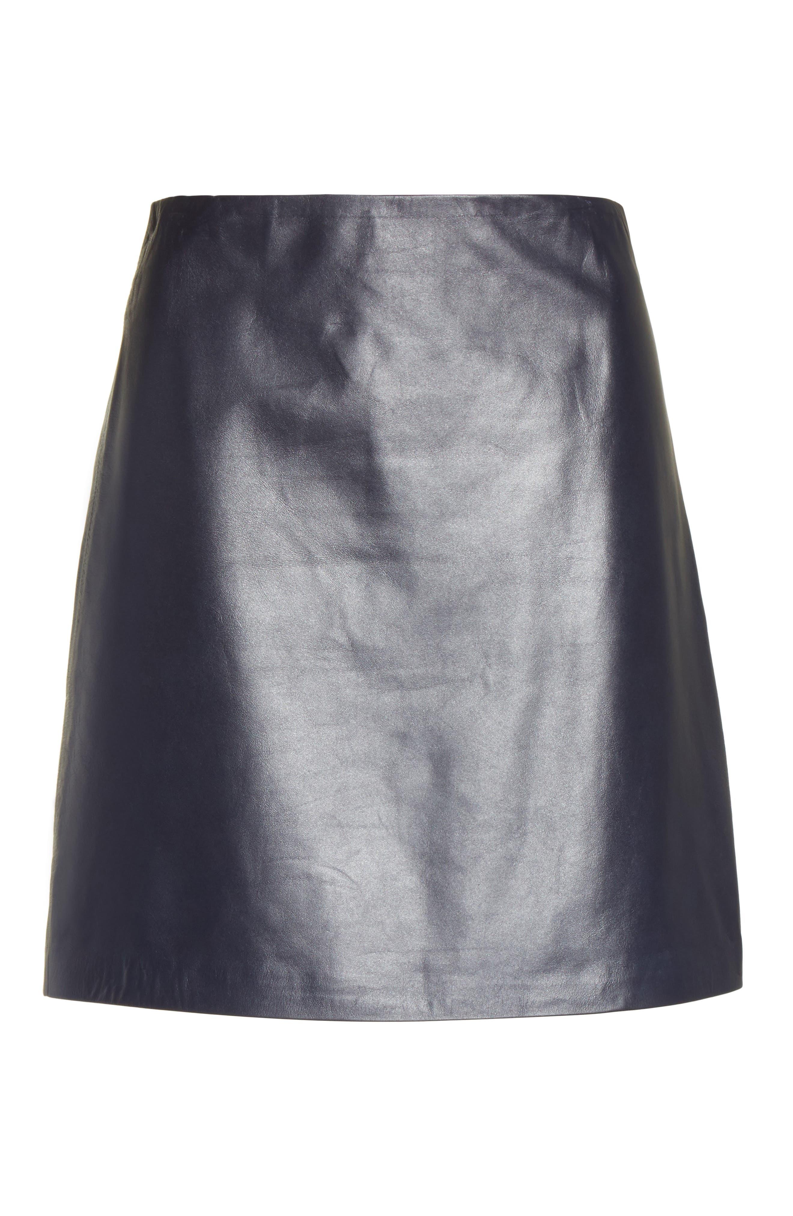 Micro Mini Paper Leather Skirt,                             Alternate thumbnail 6, color,                             410