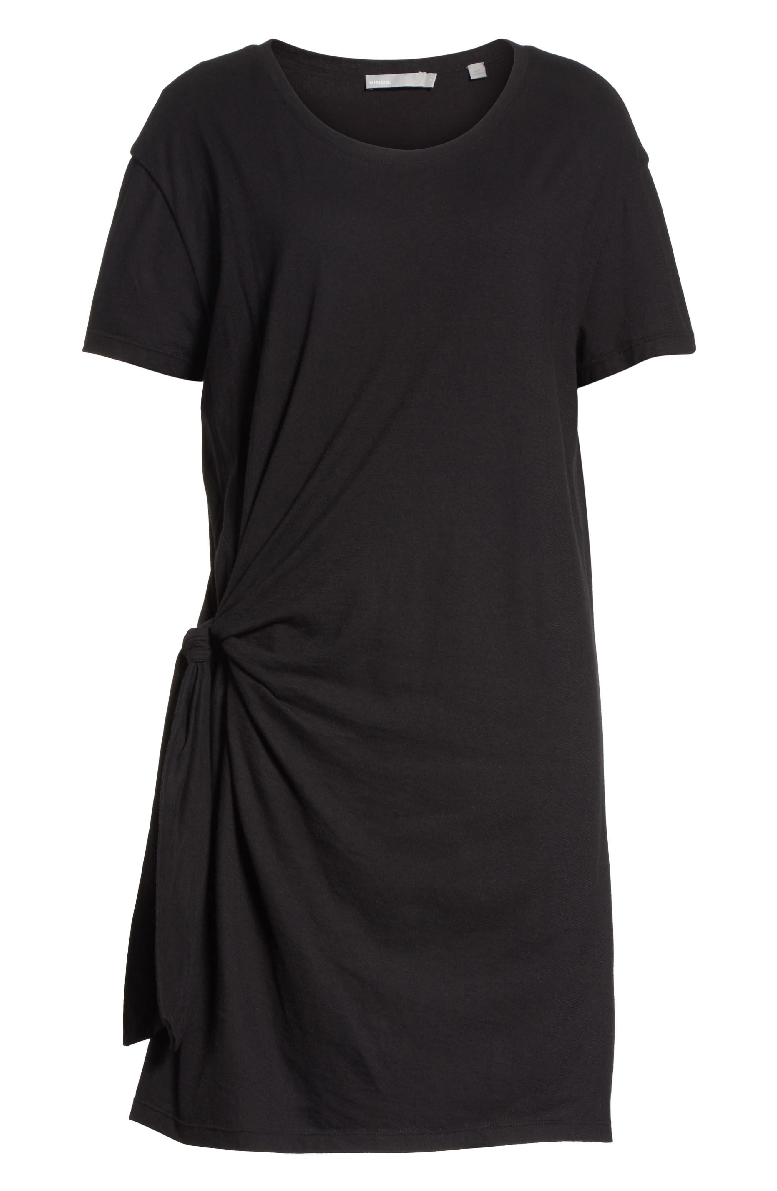 Side Tie Cotton Dress,                             Alternate thumbnail 6, color,                             001