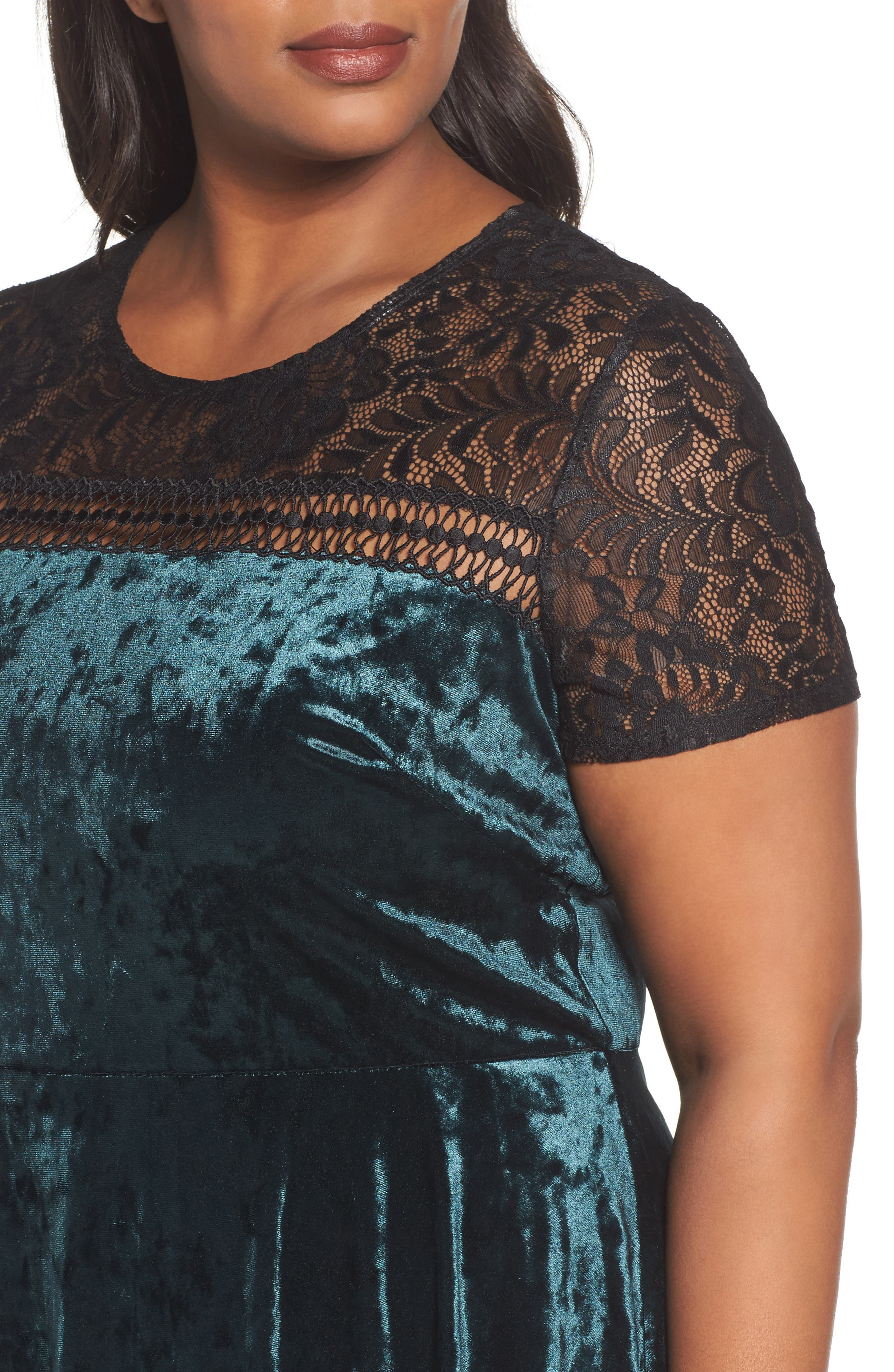 Lace Yoke Velvet Fit & Flare Dress,                             Alternate thumbnail 4, color,                             256