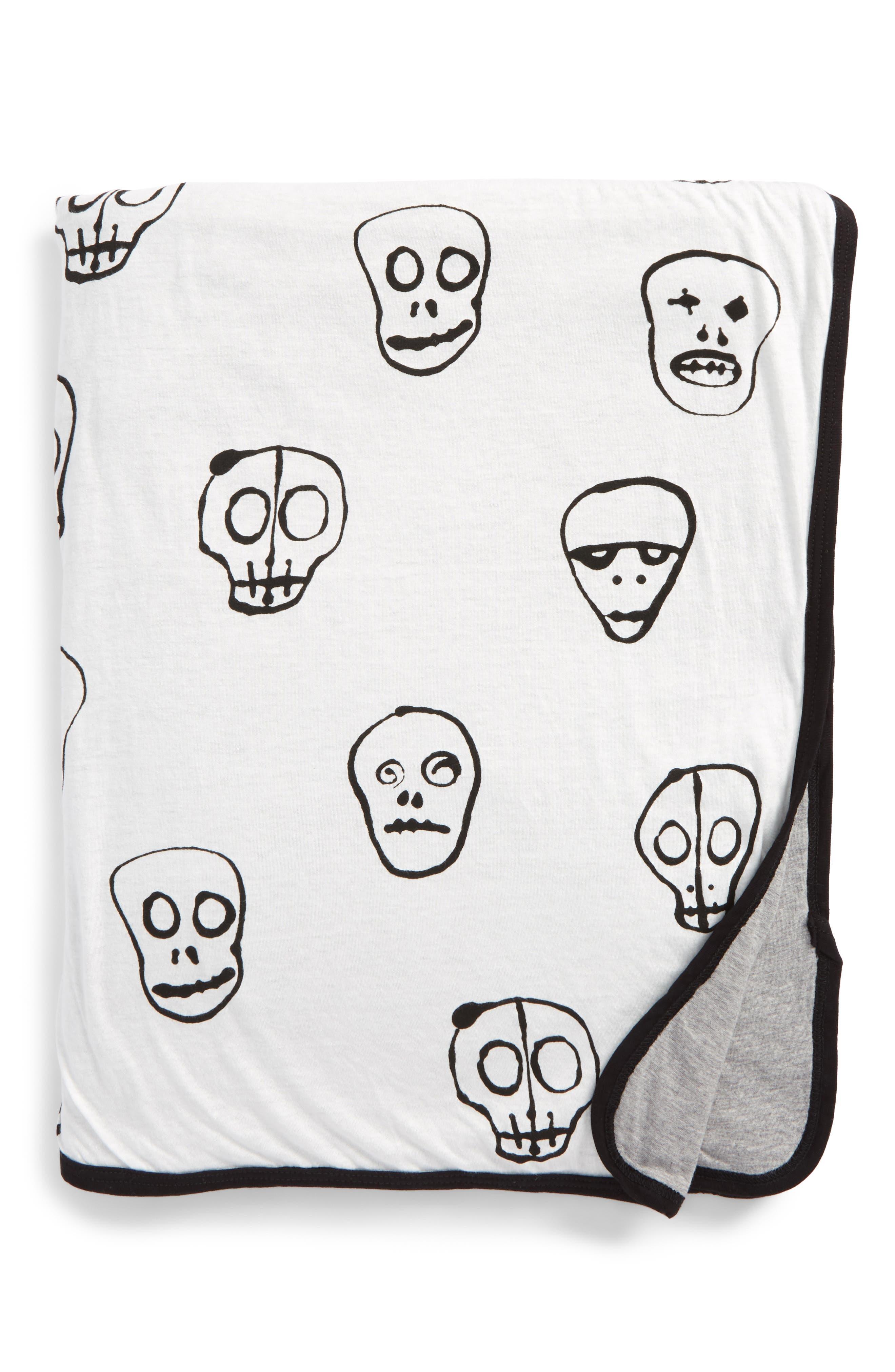 Skull Mask Blanket,                             Main thumbnail 1, color,                             WHITE
