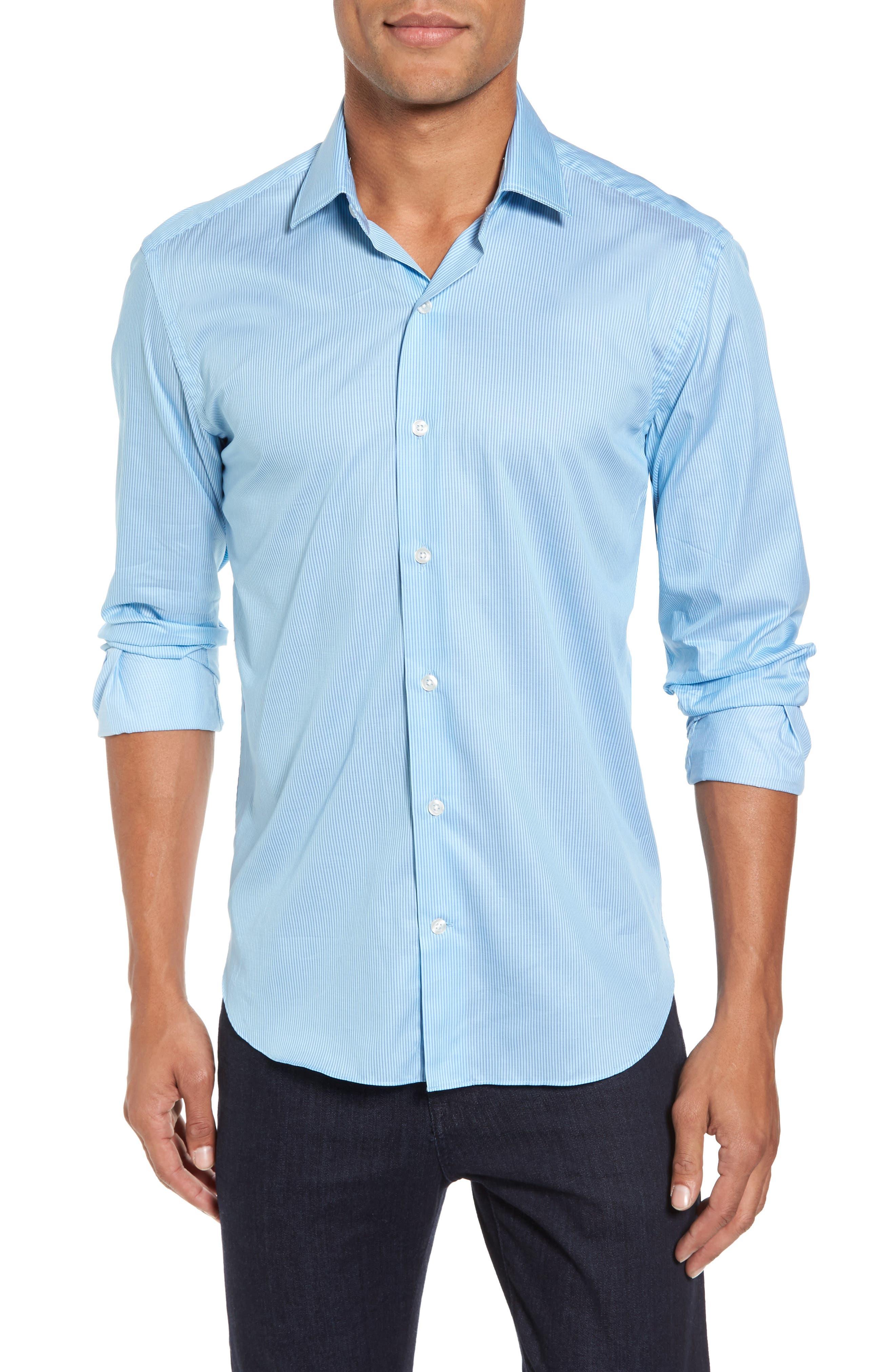 Slim Fit Stripe Twill Sport Shirt,                             Main thumbnail 1, color,