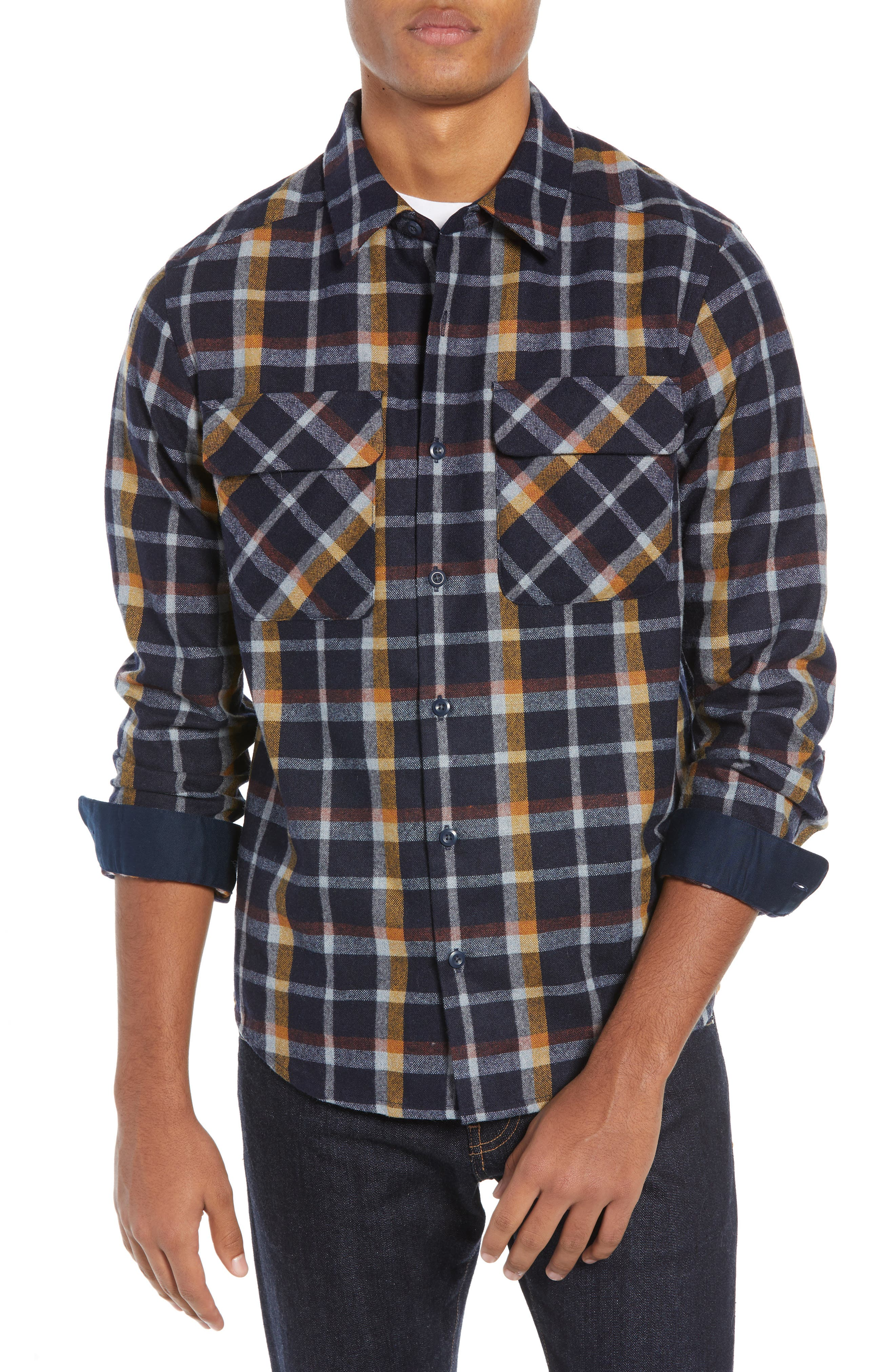 Recycled Wool Blend Shirt, Main, color, REBEL PLAID/ NAVY BLUE