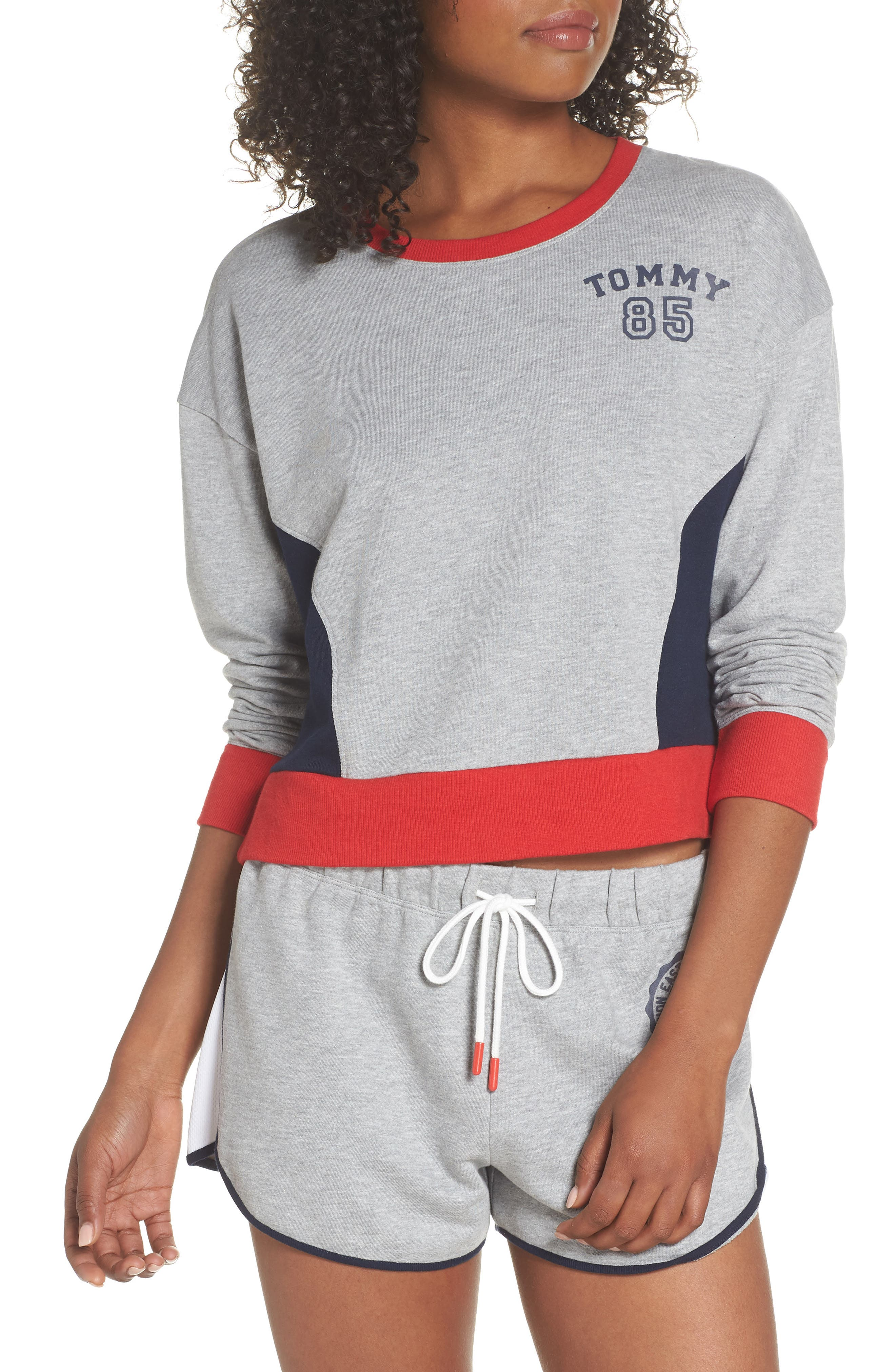 TOMMY HILFIGER,                             Crop Lounge Sweatshirt,                             Main thumbnail 1, color,                             025