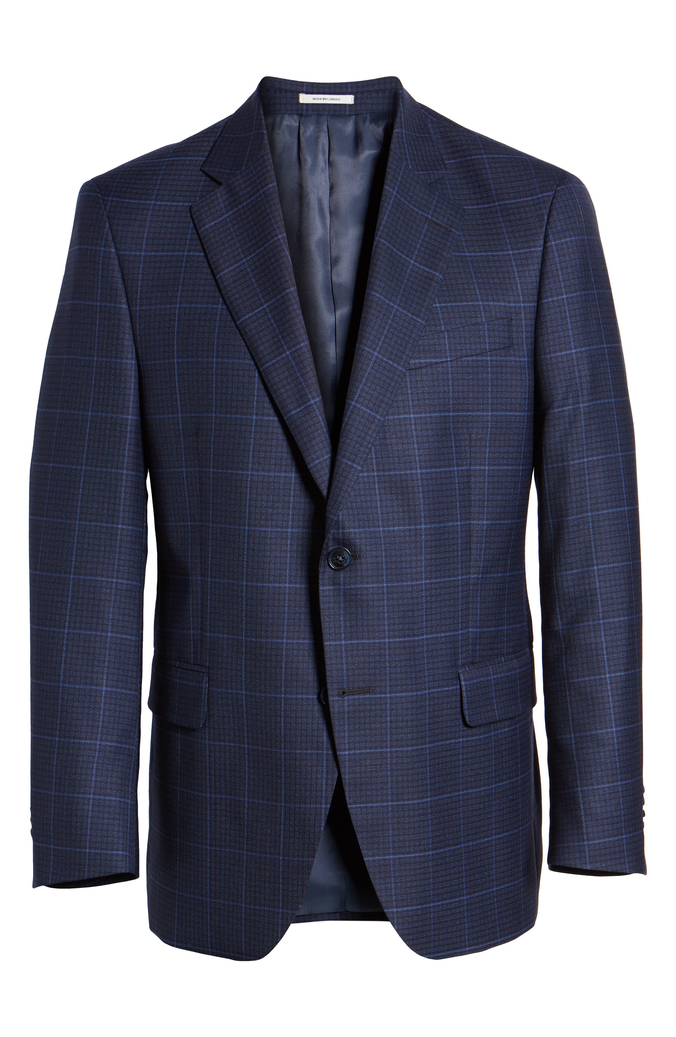 Flynn Classic Fit Plaid Check Sport Coat,                             Alternate thumbnail 5, color,                             NAVY