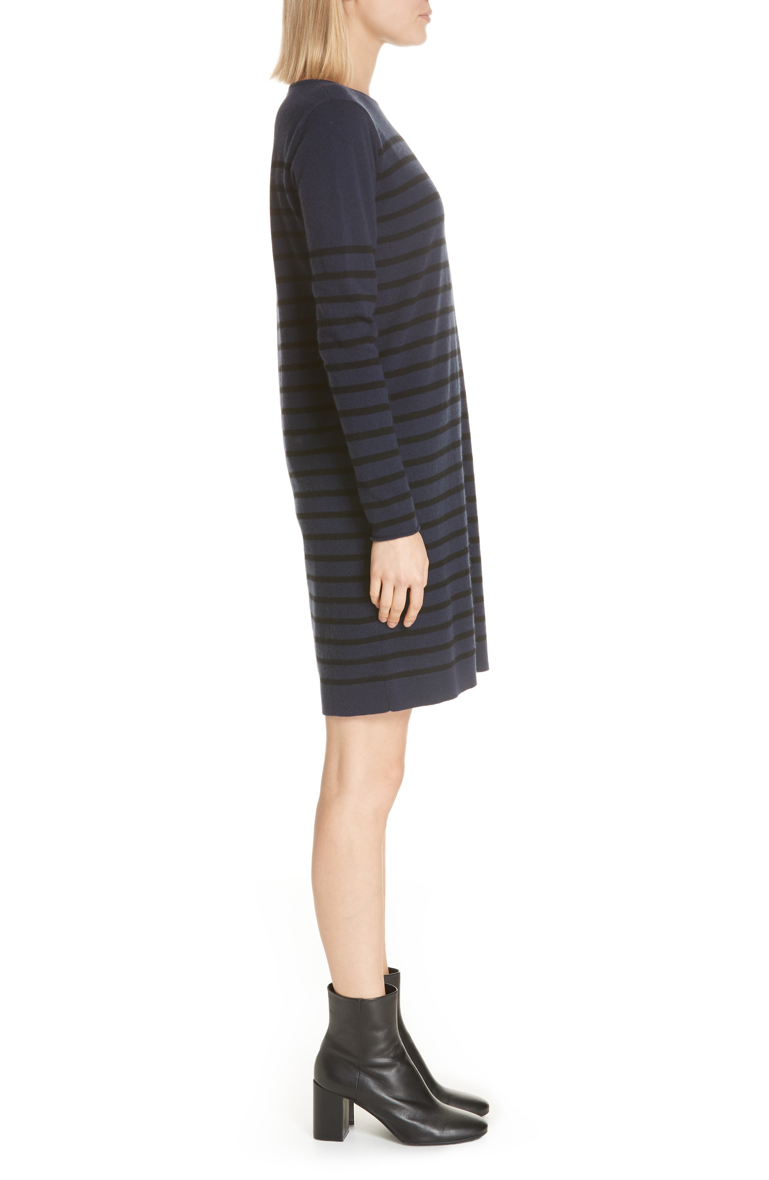 Stripe Wool & Cashmere Sweater Dress,                             Alternate thumbnail 3, color,                             NAVY/ BLACK