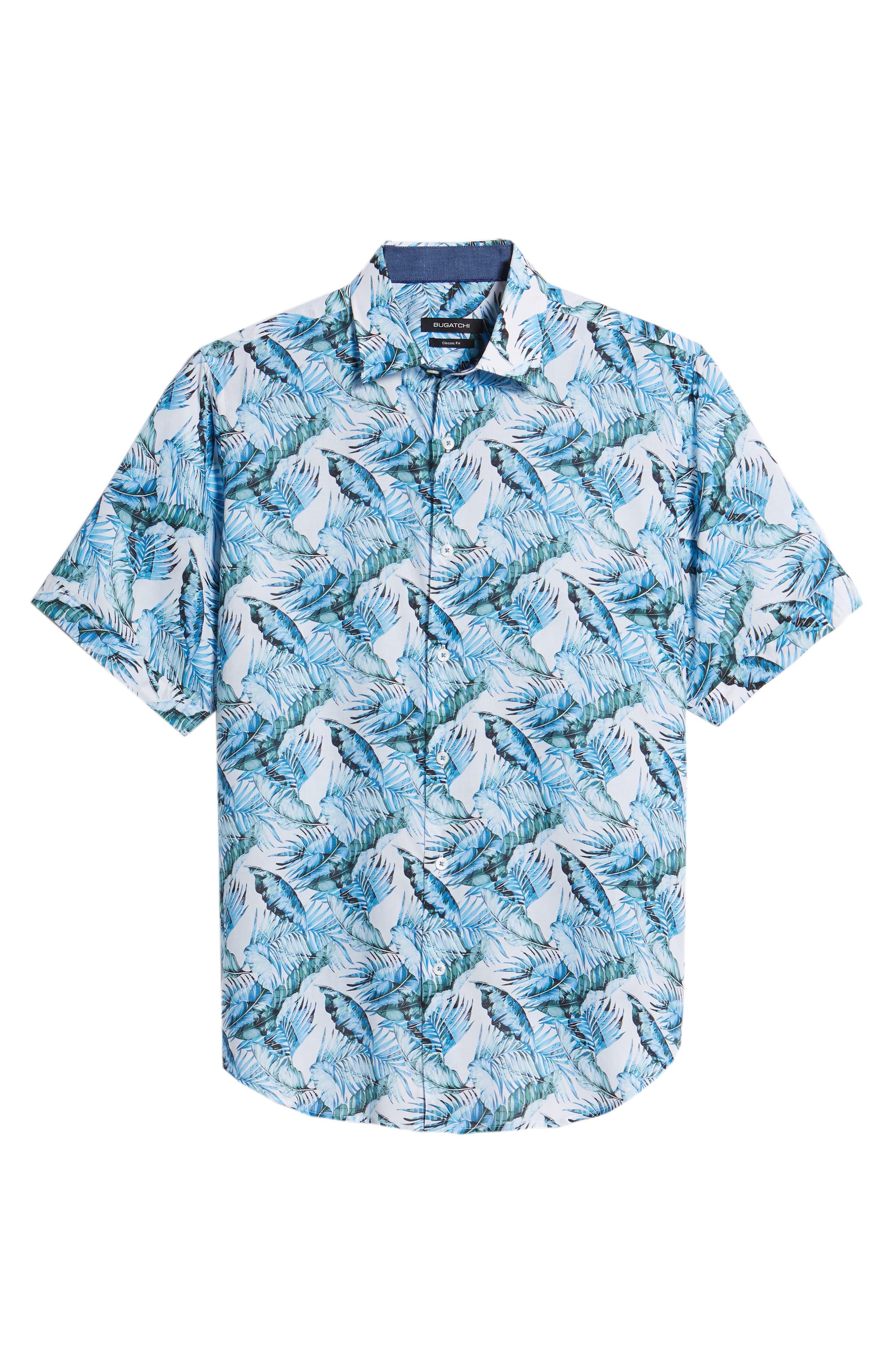 Classic Fit Palm Print Sport Shirt,                             Alternate thumbnail 6, color,                             440