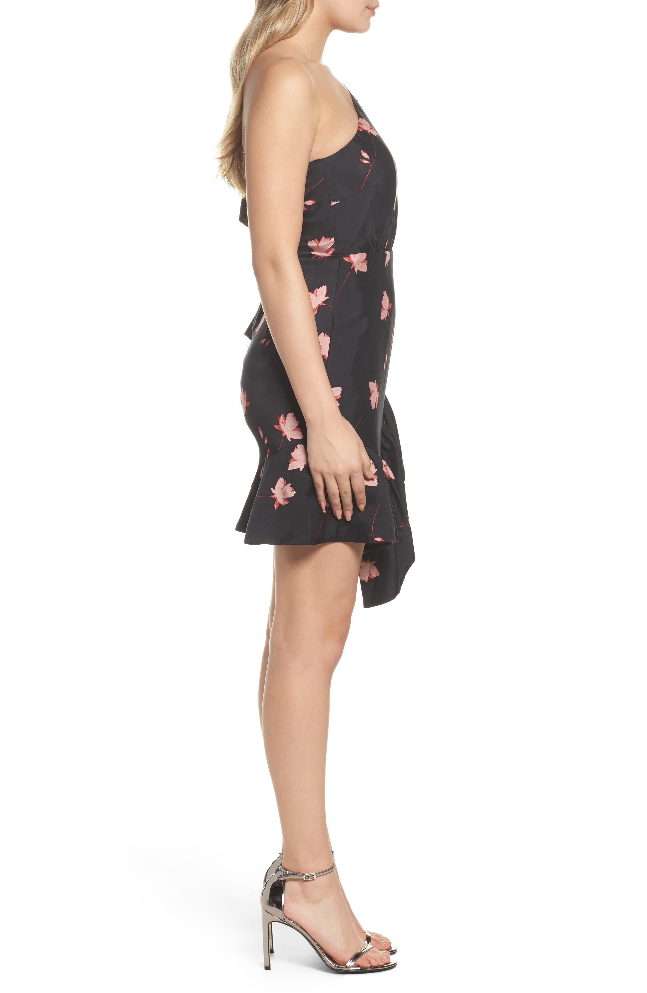 Lucia Frill One-Shoulder Dress,                             Alternate thumbnail 3, color,                             017