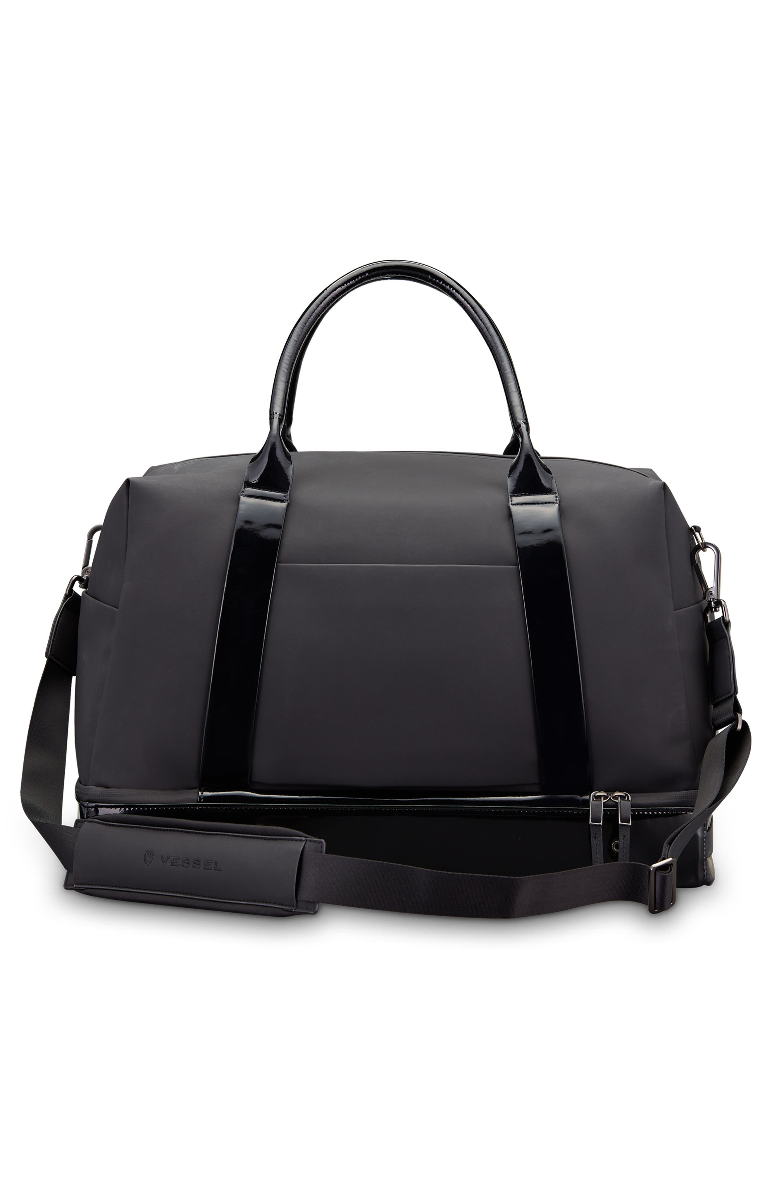 Signature 2.0 Boston Faux Leather Duffel Bag,                             Alternate thumbnail 2, color,                             MATTE/ PATENT BLACK