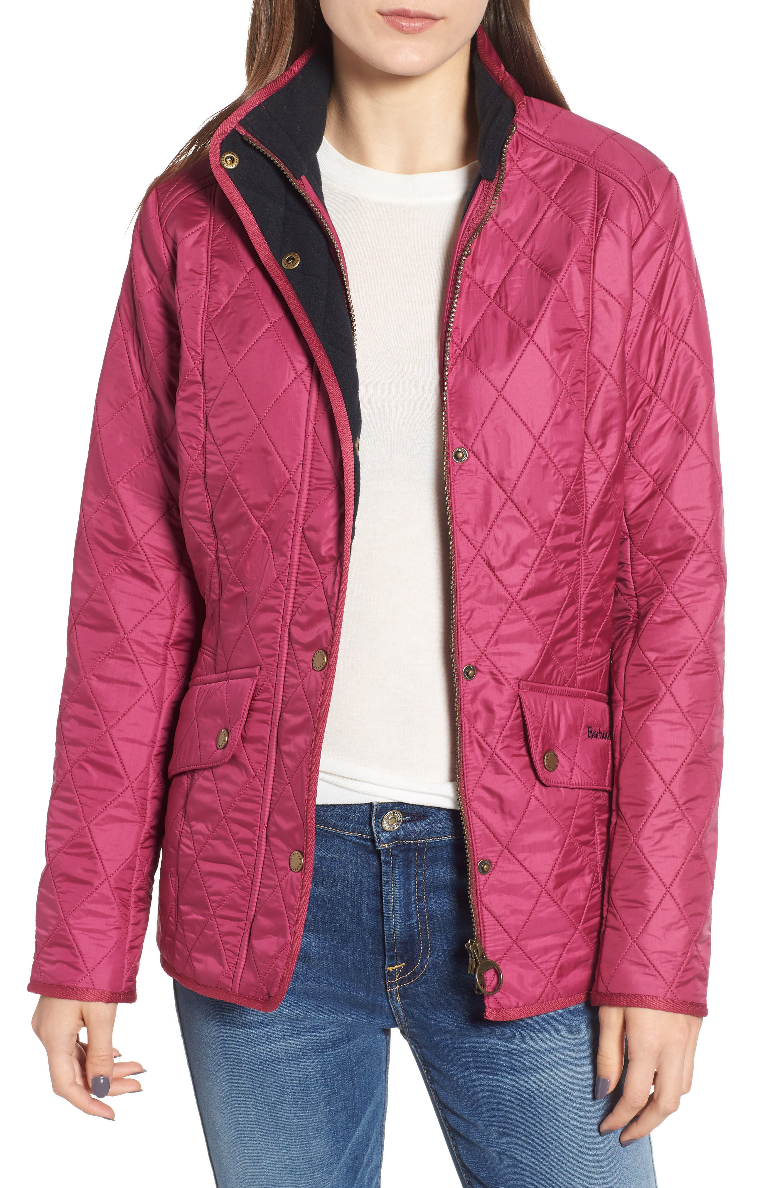 'Cavalry' Quilted Jacket,                             Main thumbnail 1, color,                             BERRY PINK / NAVY