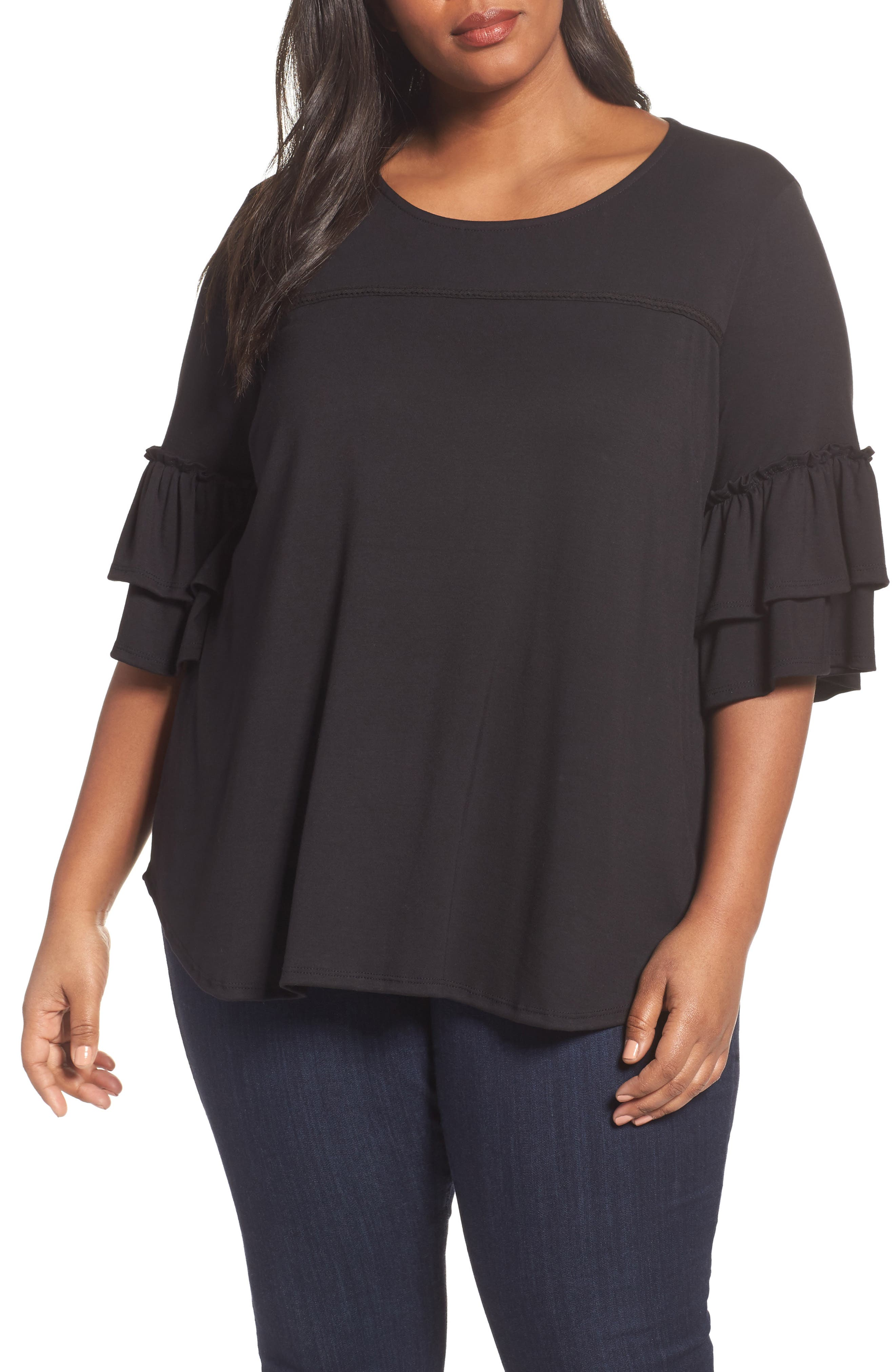 Double Ruffle Sleeve Top,                             Main thumbnail 1, color,