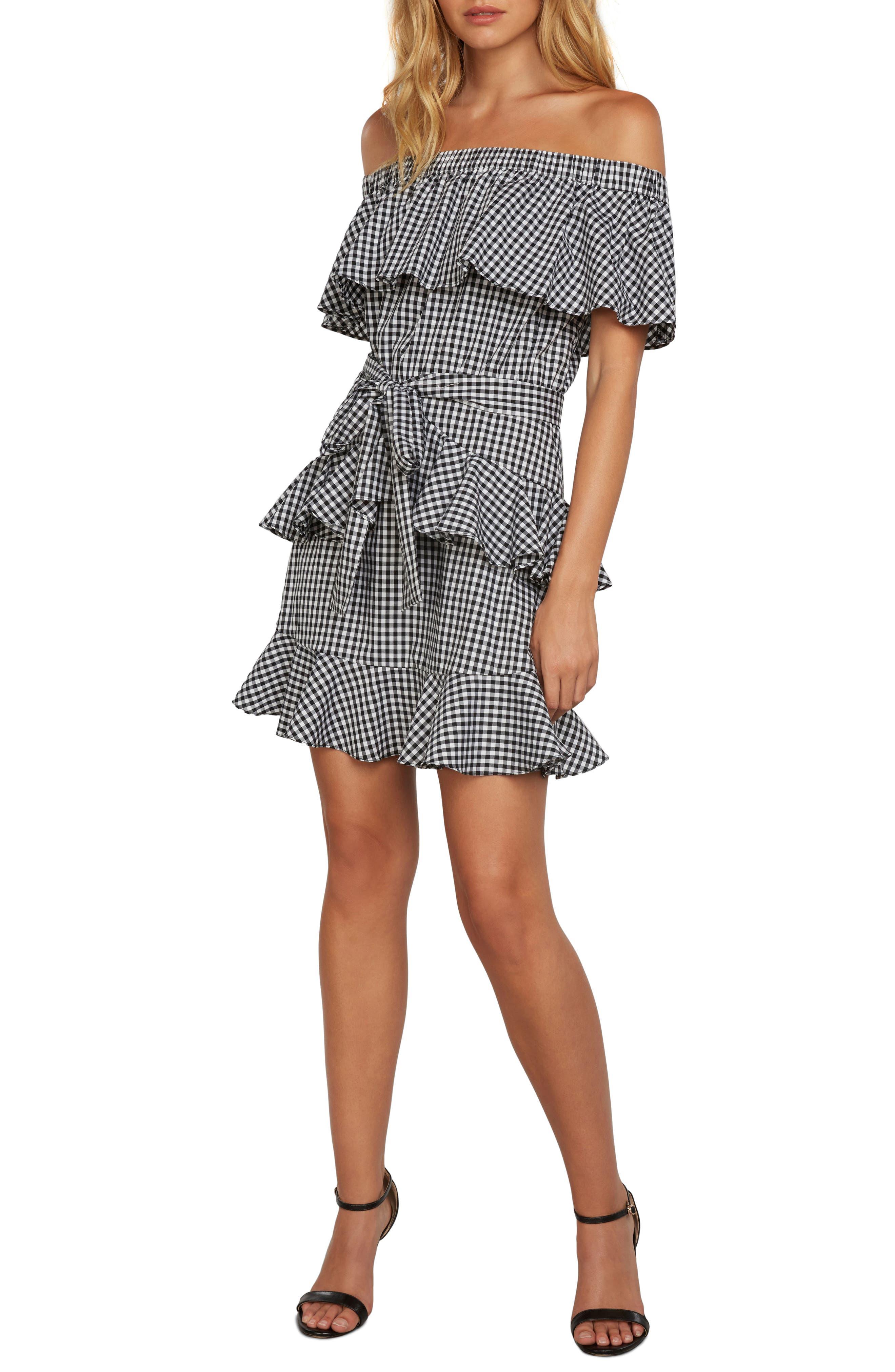 Gingham Off the Shoulder Dress,                         Main,                         color,