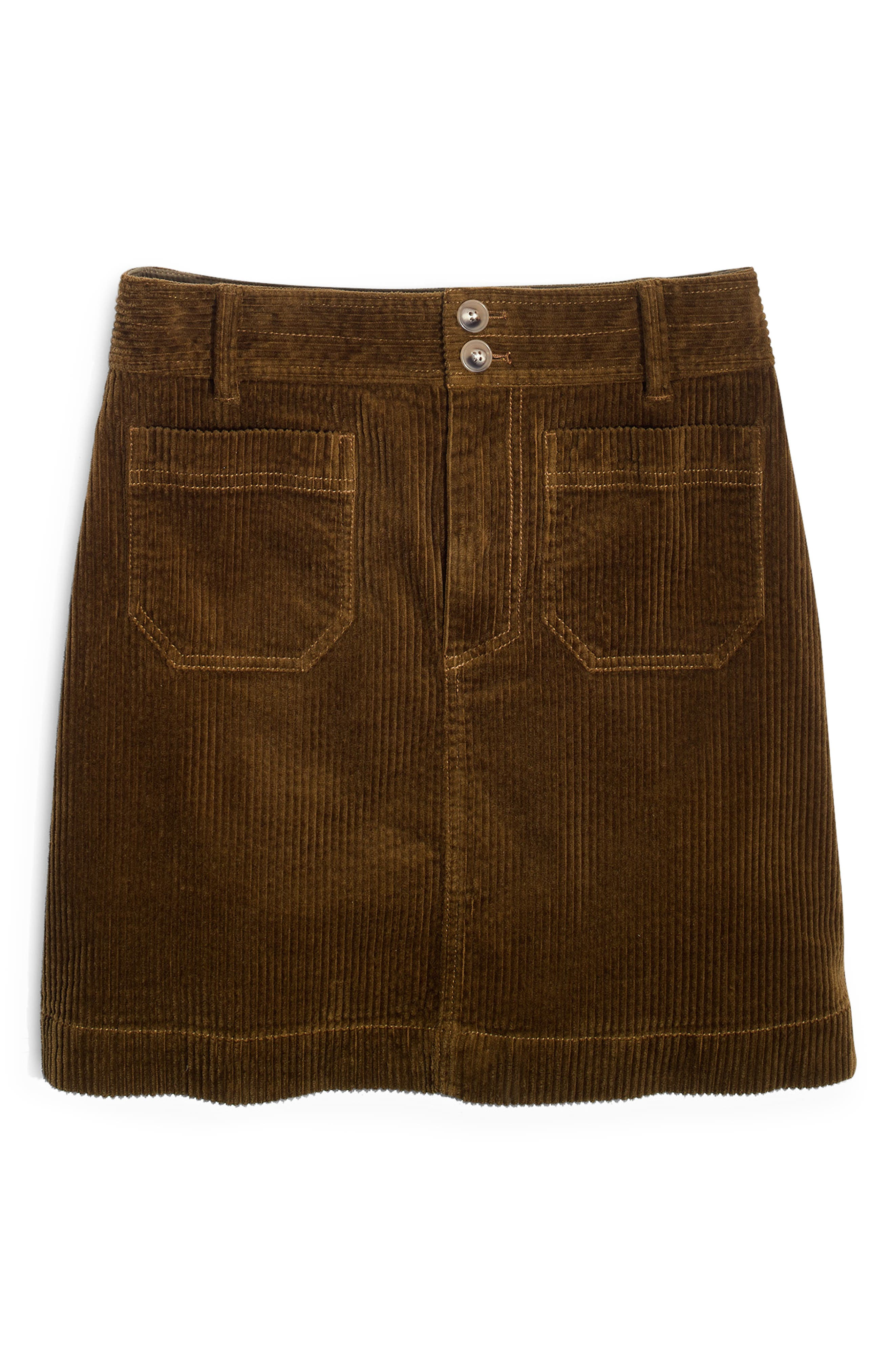 Corduroy A-Line Miniskirt,                             Alternate thumbnail 4, color,                             ASPARAGUS