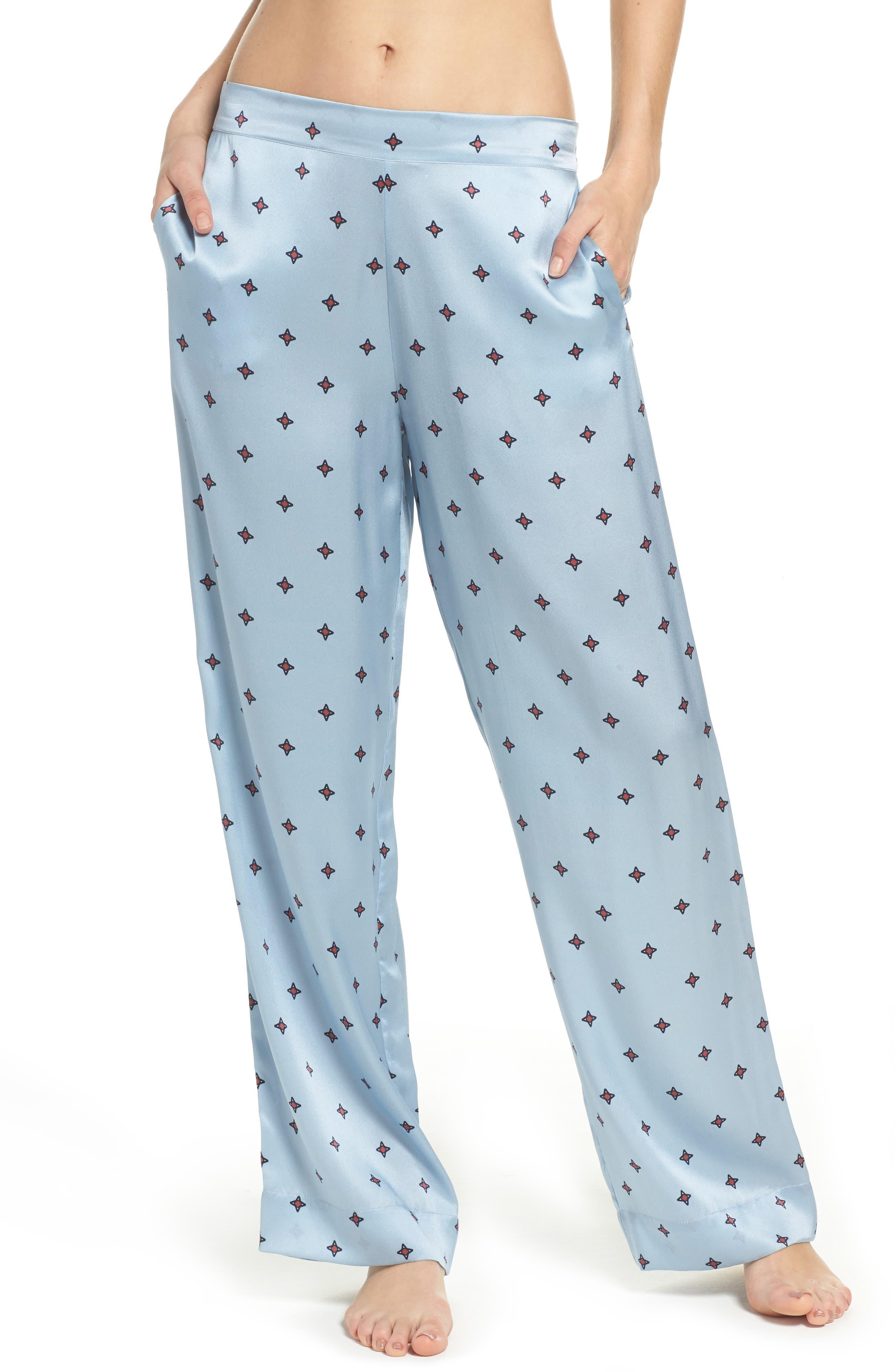 Print Silk Pajama Pants,                             Main thumbnail 1, color,                             400