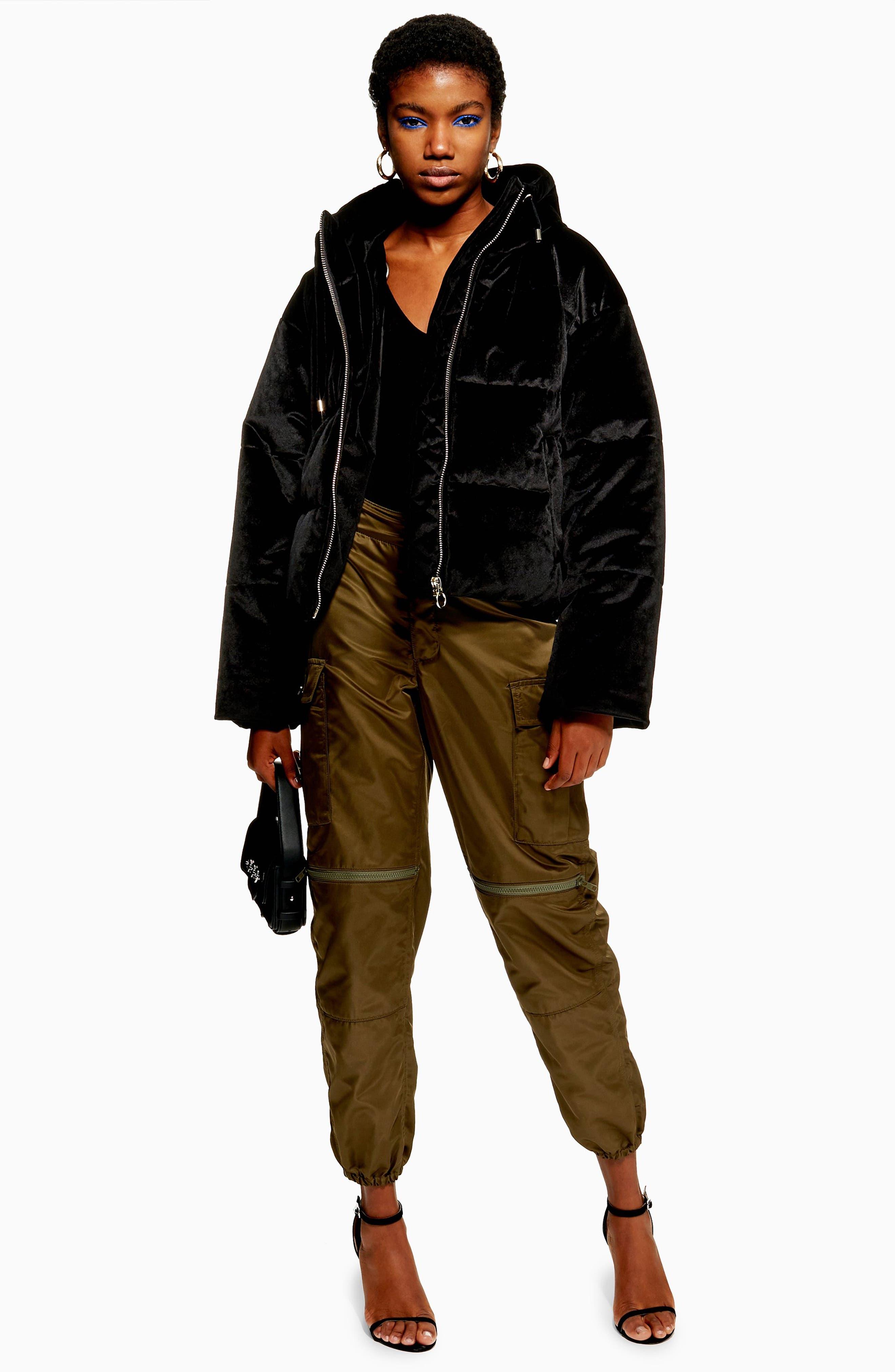 Velvet Puffer Jacket,                             Alternate thumbnail 6, color,                             001