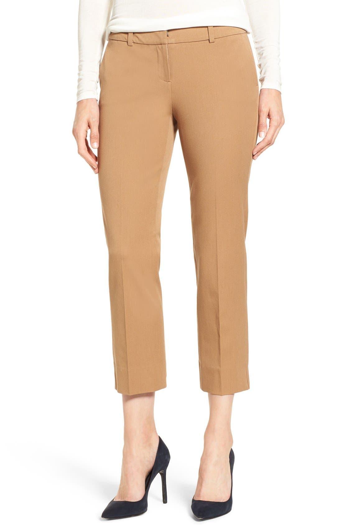 Crop Stretch Cotton Pants,                             Main thumbnail 9, color,
